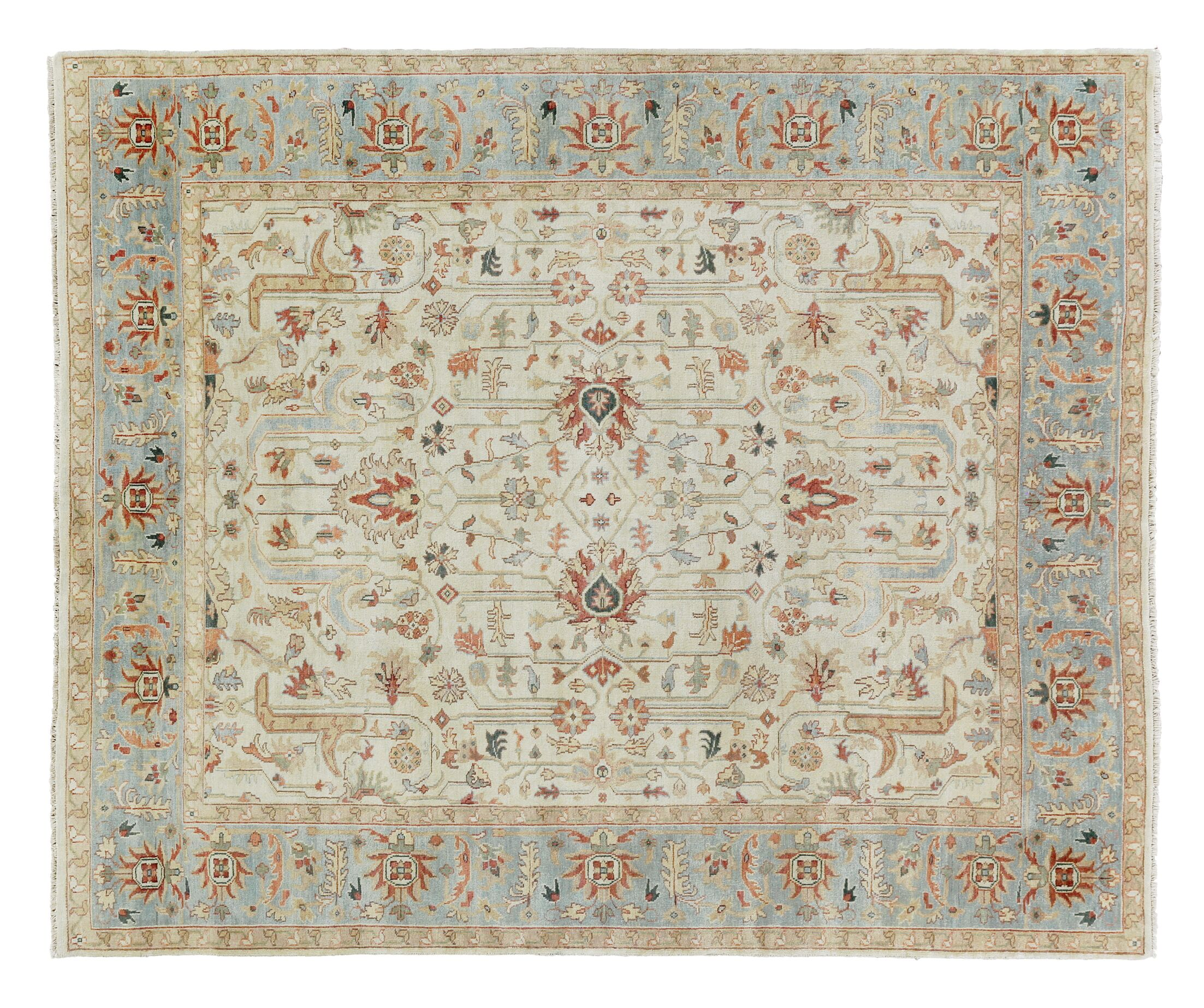 Serapi Hand-Knotted Wool Ivory/Light Blue Area Rug Rug Size: Rectangle 14' x 18'