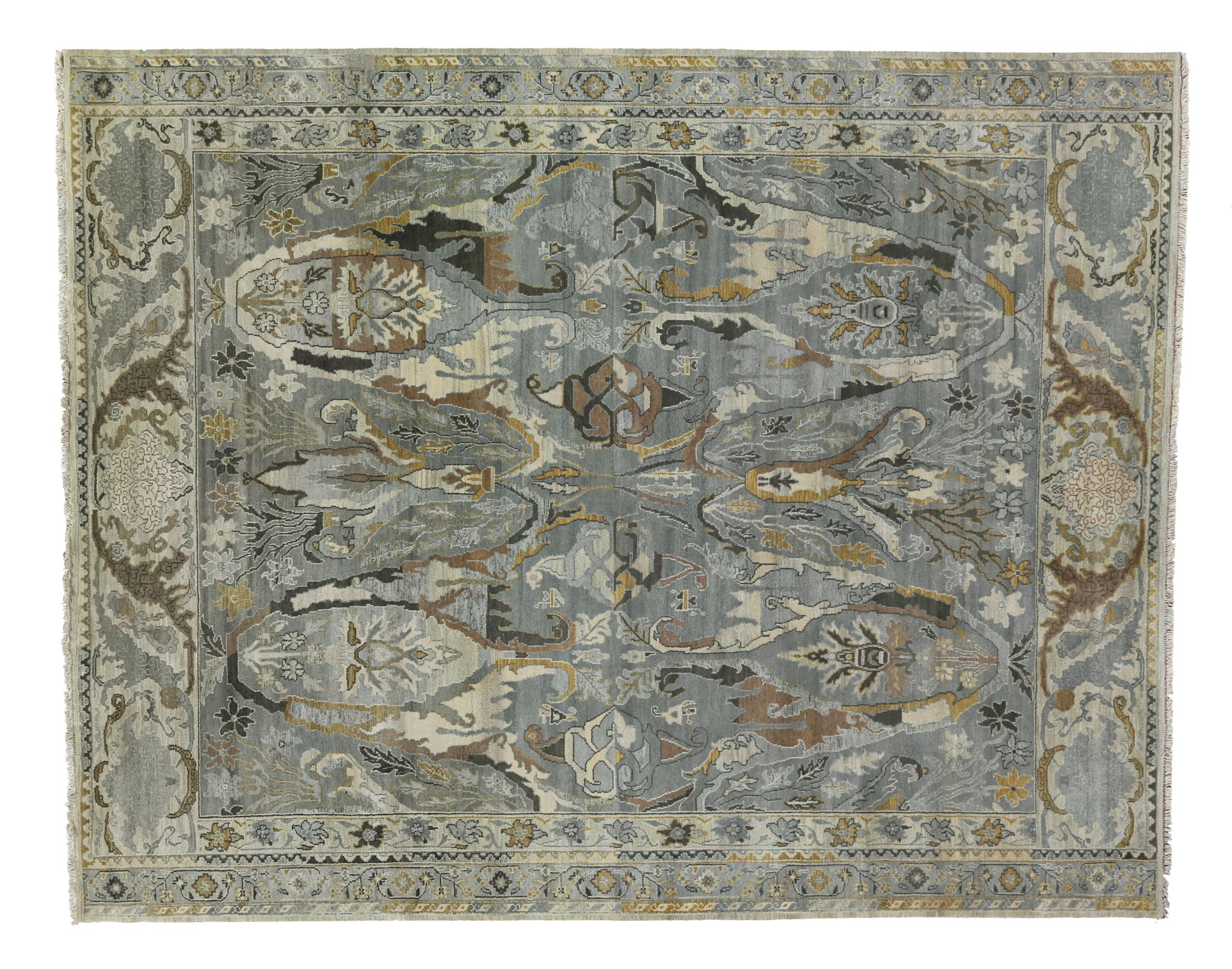 Jurassic Hand-Knotted Wool Gray/Beige Area Rug Rug Size: Rectangle 14' x 18'