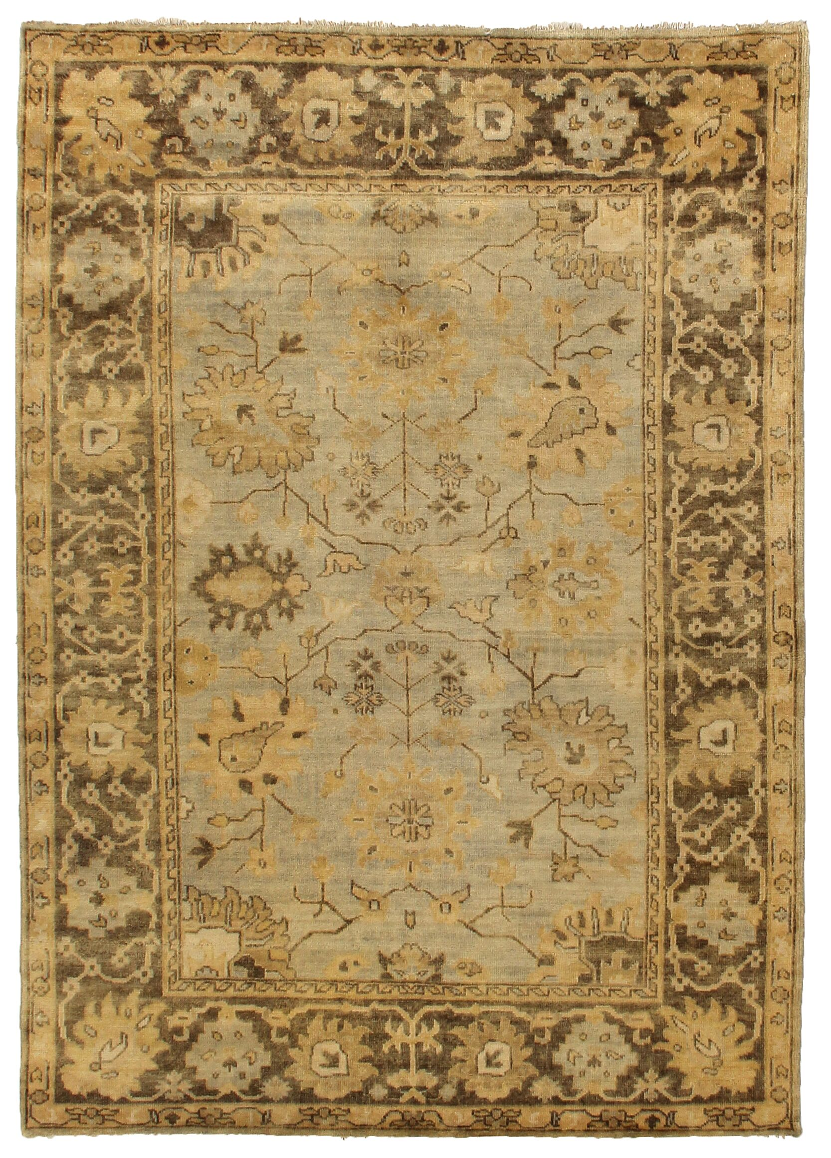 Oushak Hand-Knotted Wool Brown/Gray Area Rug Rug Size: Rectangle 10' x 14'