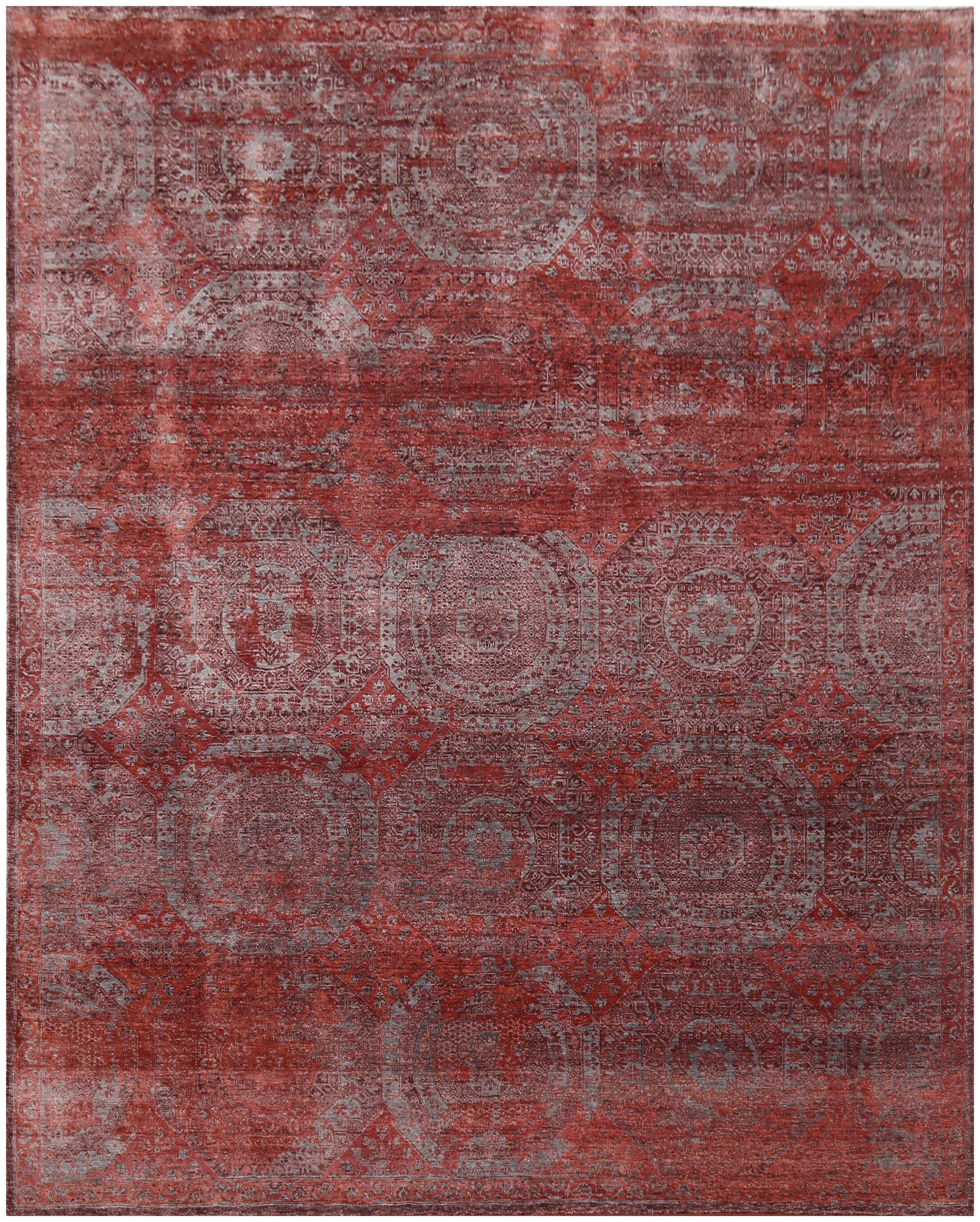 Fine Mamluk Hand-Knotted Silk Red Area Rug Rug Size: Rectangle 10' x 14'