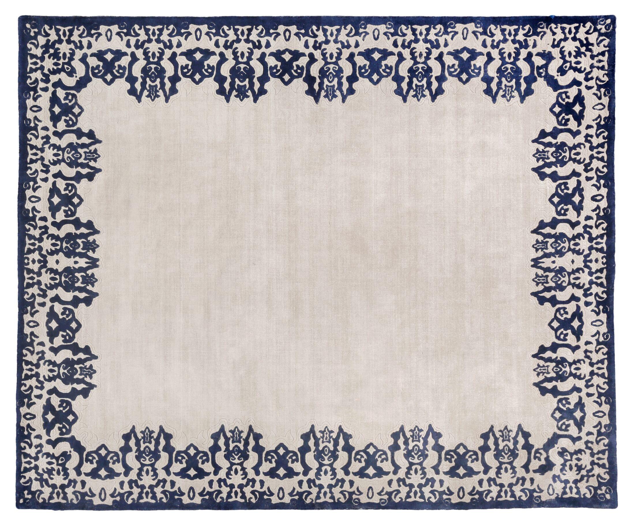Antolini Hand-Woven Ivory/Blue Area Rug Rug Size: Rectangle 10' x 14'