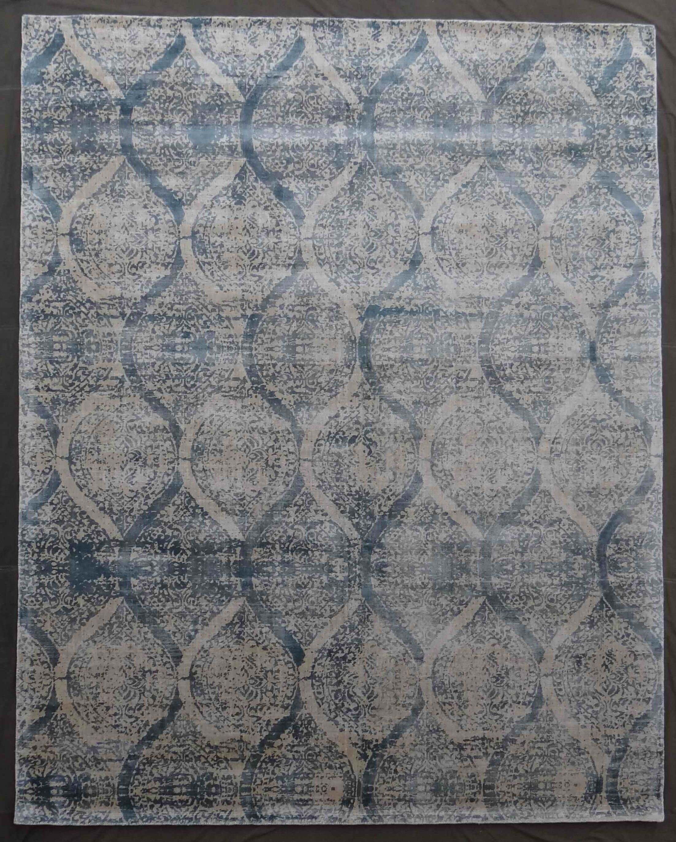 Beverly Hand-Knotted Blue Area Rug Rug Size: Rectangle 12' x 15'