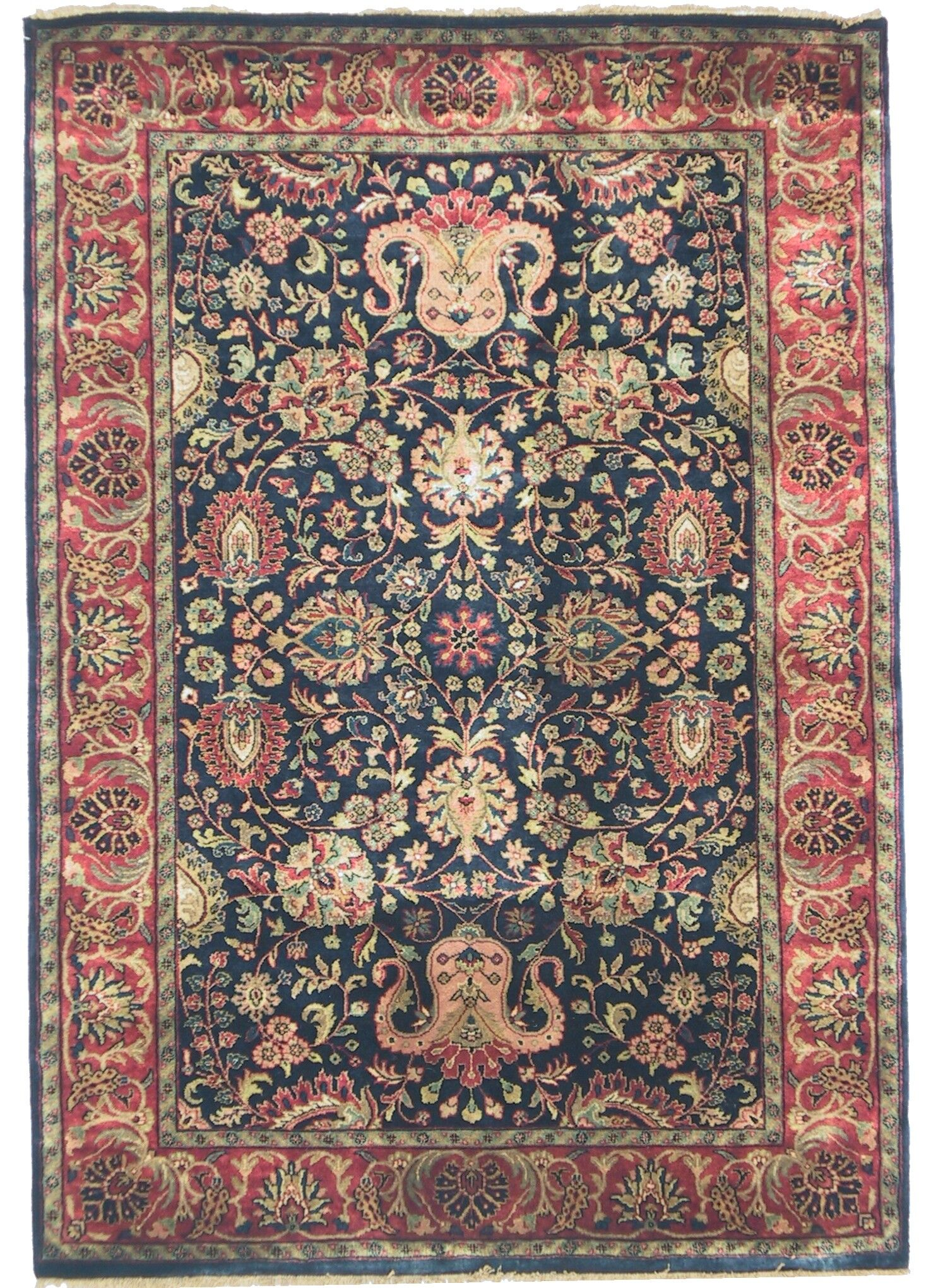 Super Mashad Hand-Knotted Wool Navy/Red Area Rug Rug Size: Rectangle 6' x 9'