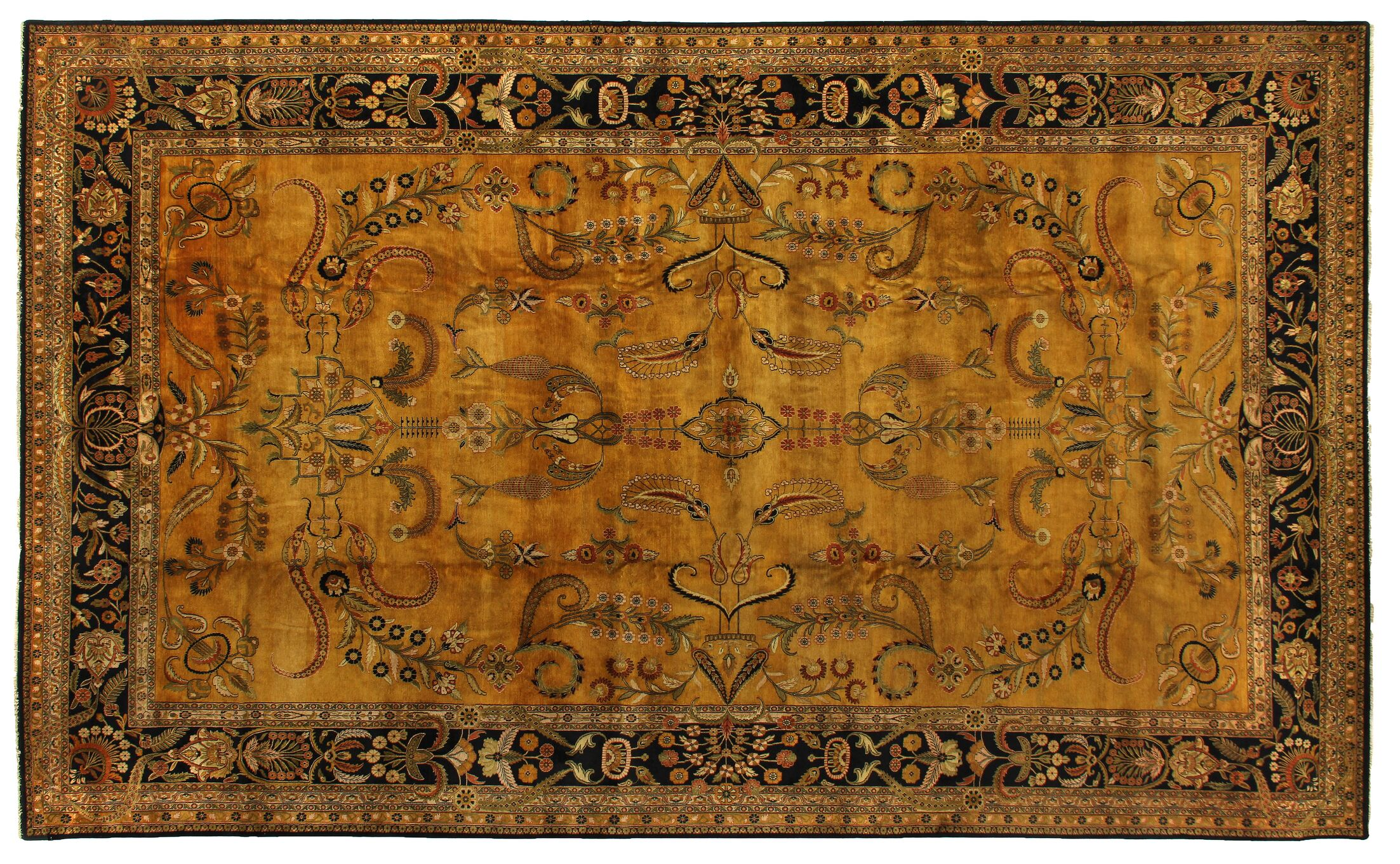 Mohajeran Sarouk Hand-Knotted Wool Gold/Black Area Rug Rug Size: Rectangle 14' x 16'