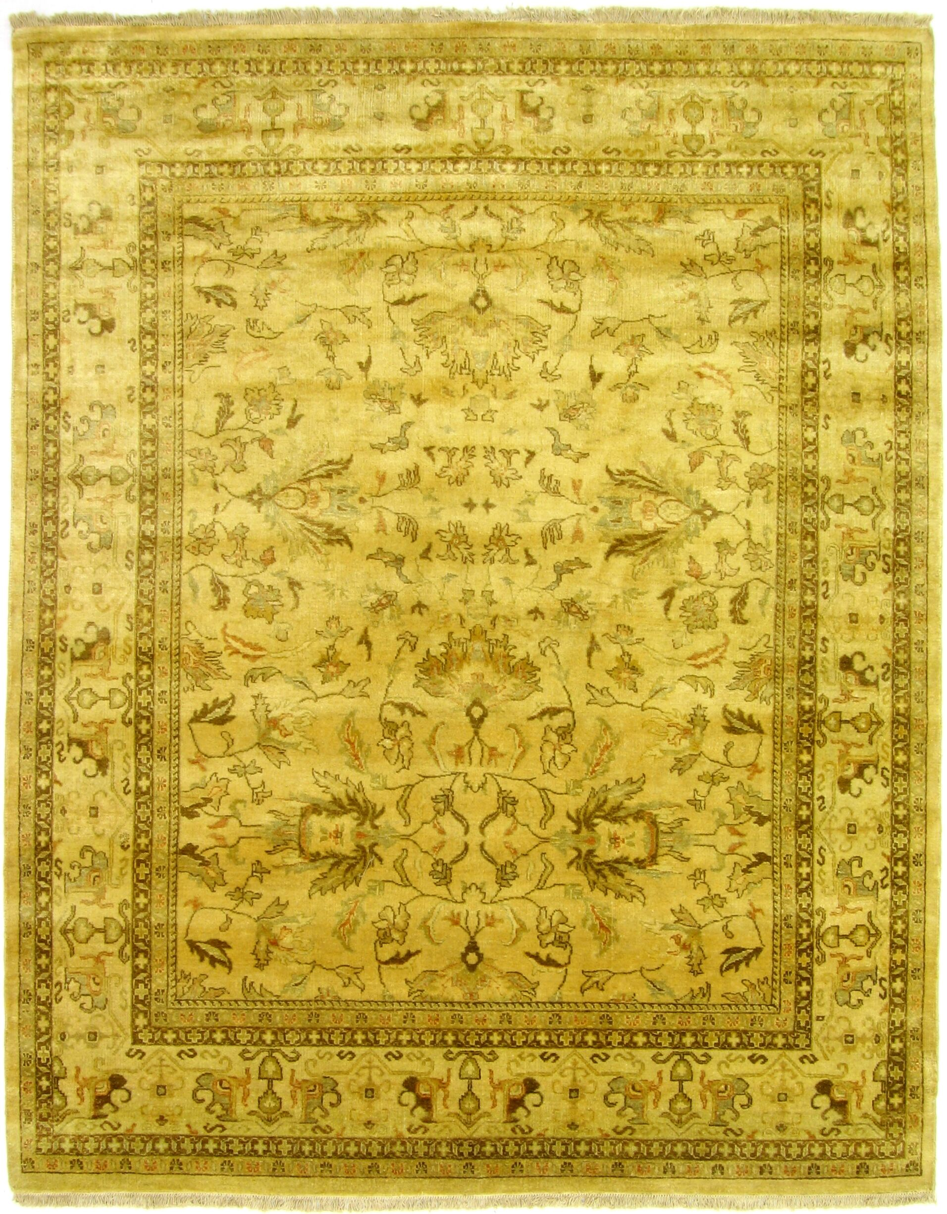 Ziegler Hand-Knotted Wool Yellow/Green Area Rug Rug Size: Rectangle 6' x 9'