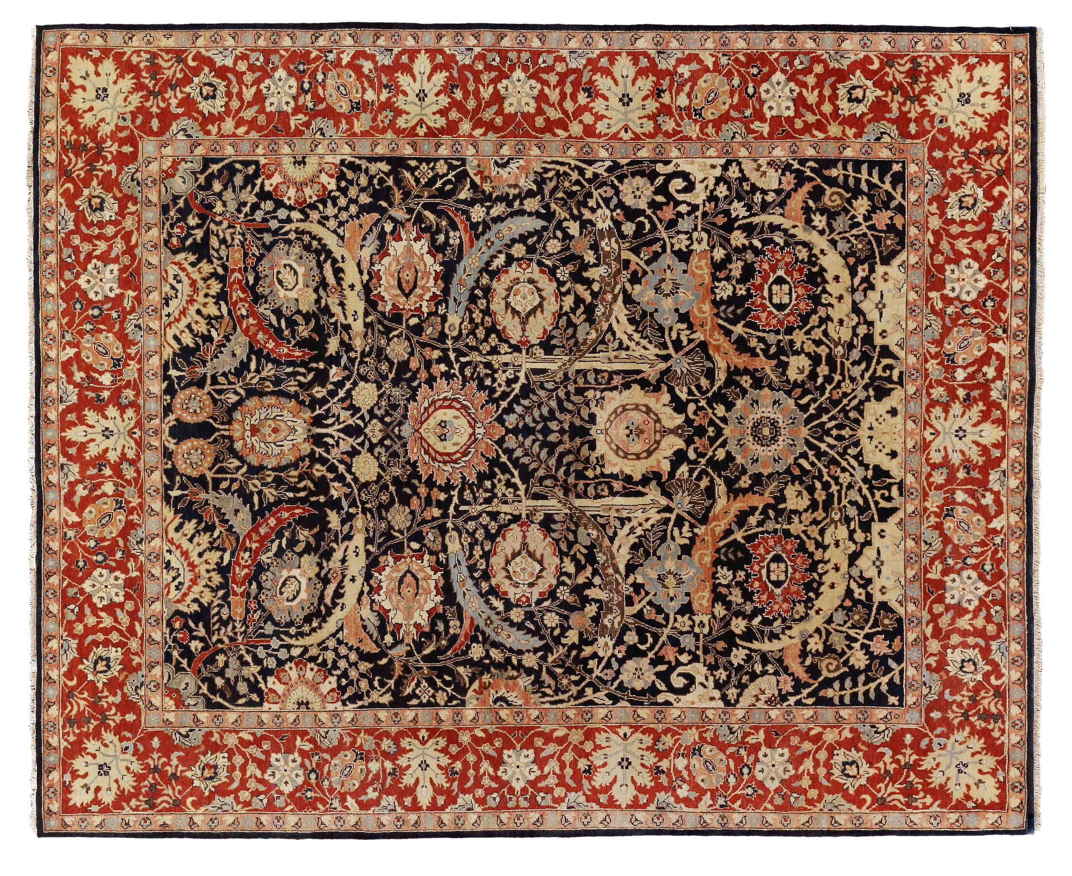 Serapi Hand-Knotted Wool Navy/Red Area Rug Rug Size: Rectangle14' x 18'
