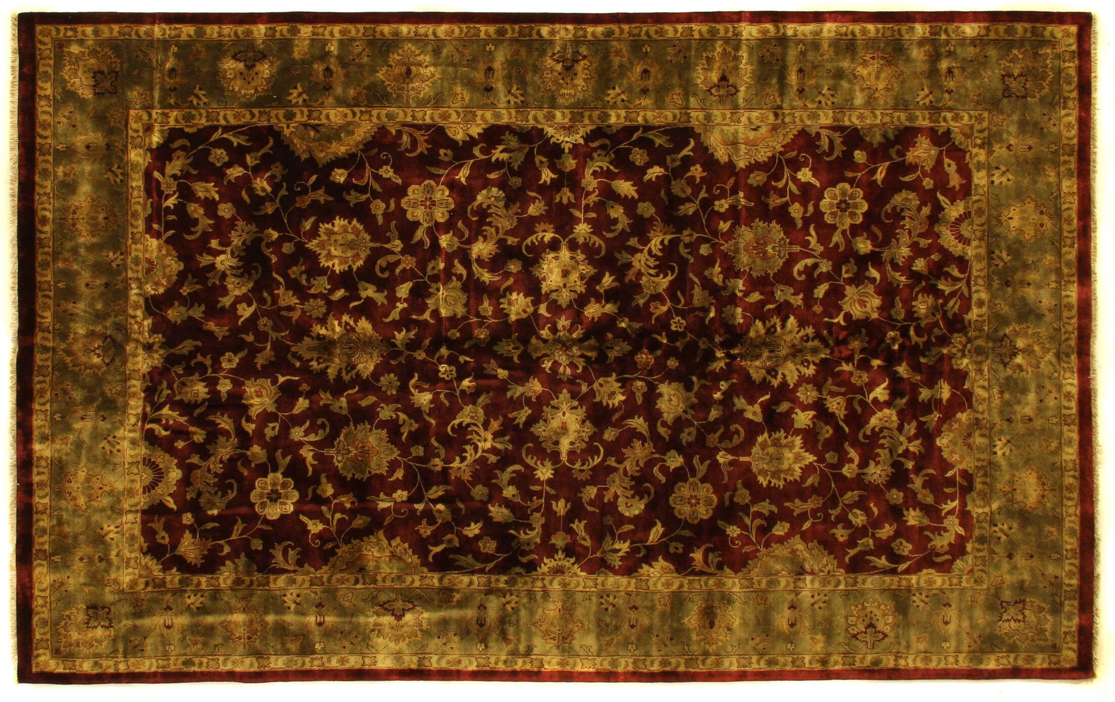 Super Kashan Hand-Knotted Wool Maroon/Green Area Rug Rug Size: Rectangle 9' x 10'