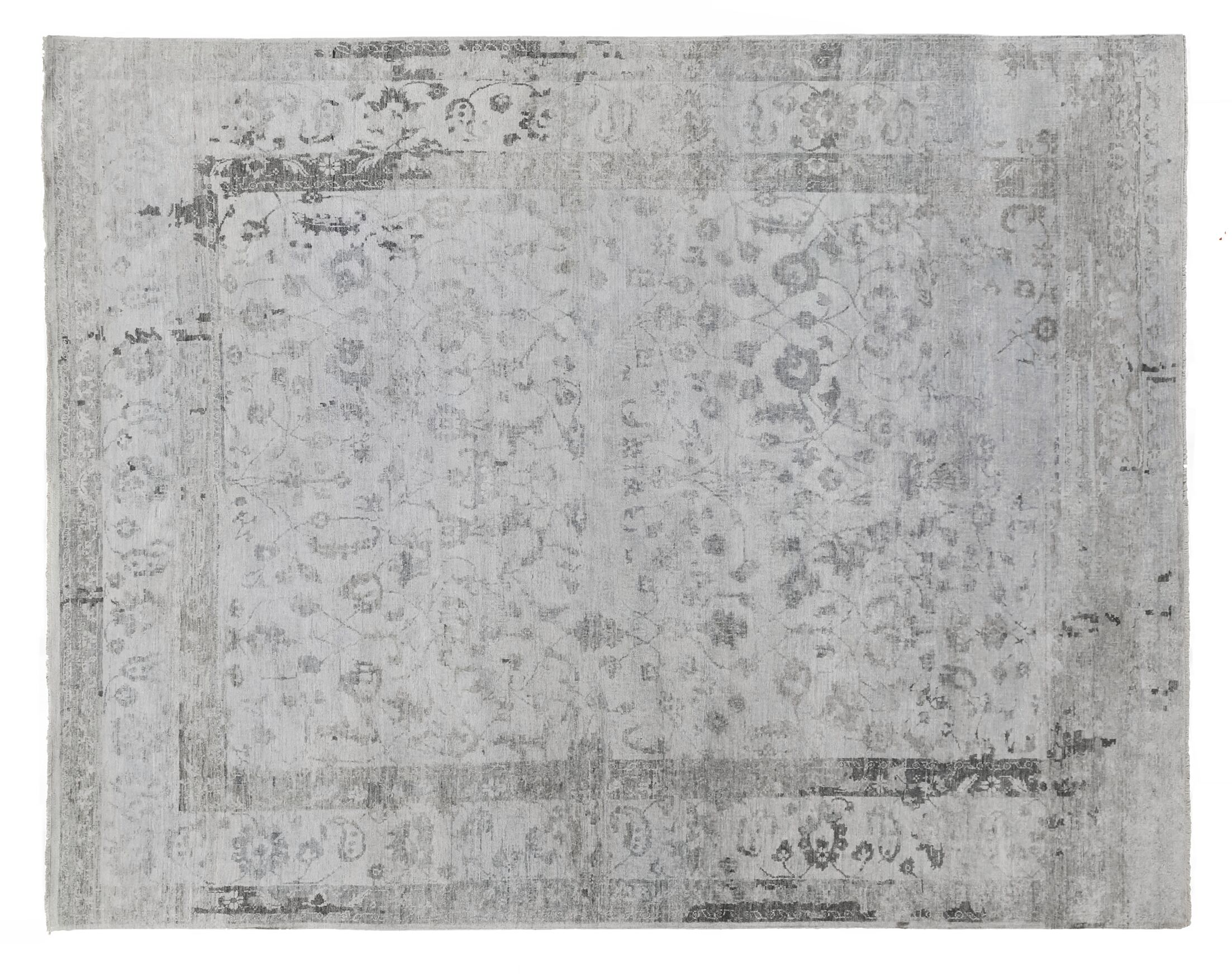 Beverly Hand-Knotted Gray Area Rug Rug Size: Rectangle 14' x 18'