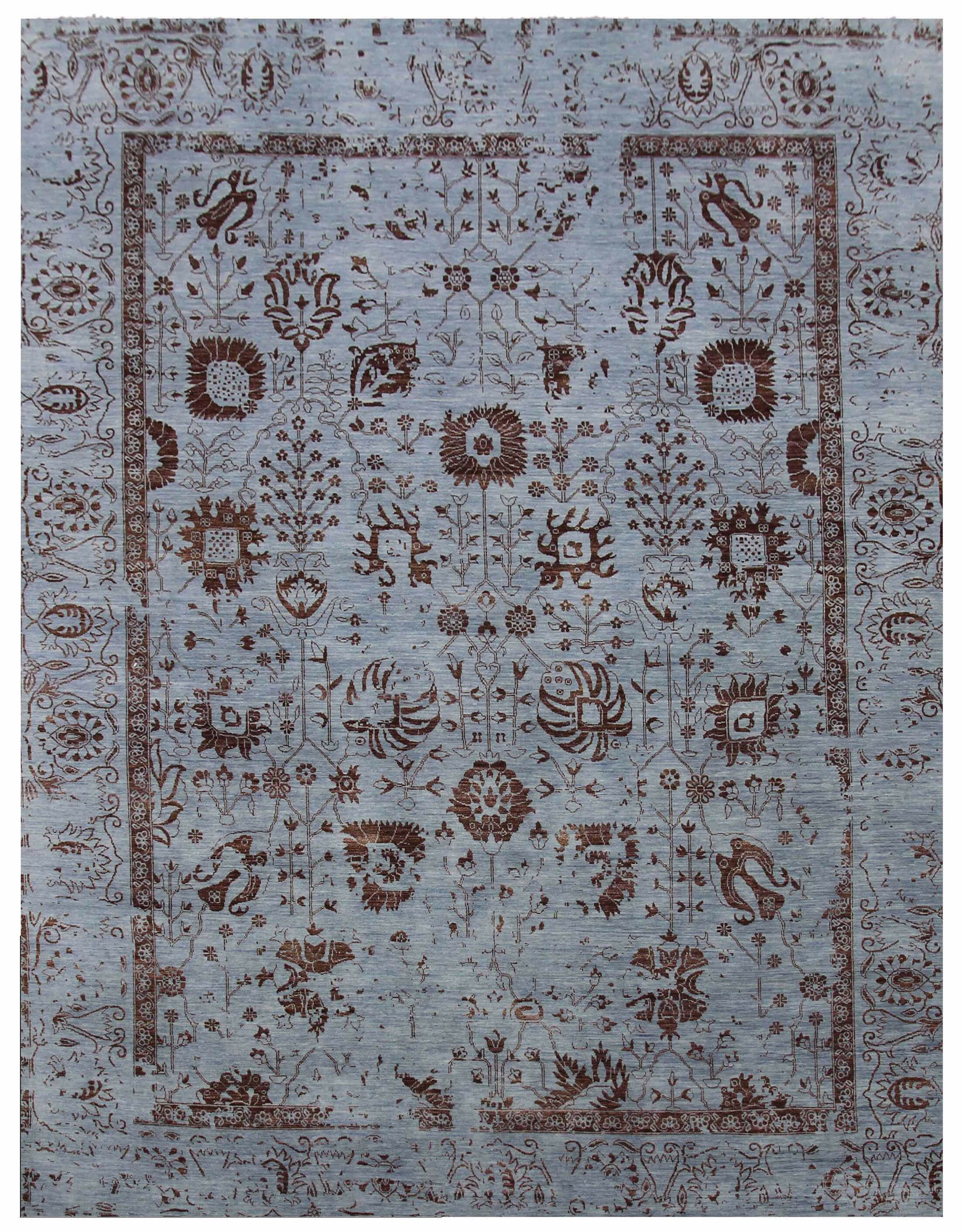 Lexington Hand-Knotted Gray/Brown Area Rug Rug Size: Rectangle 10' x 14'