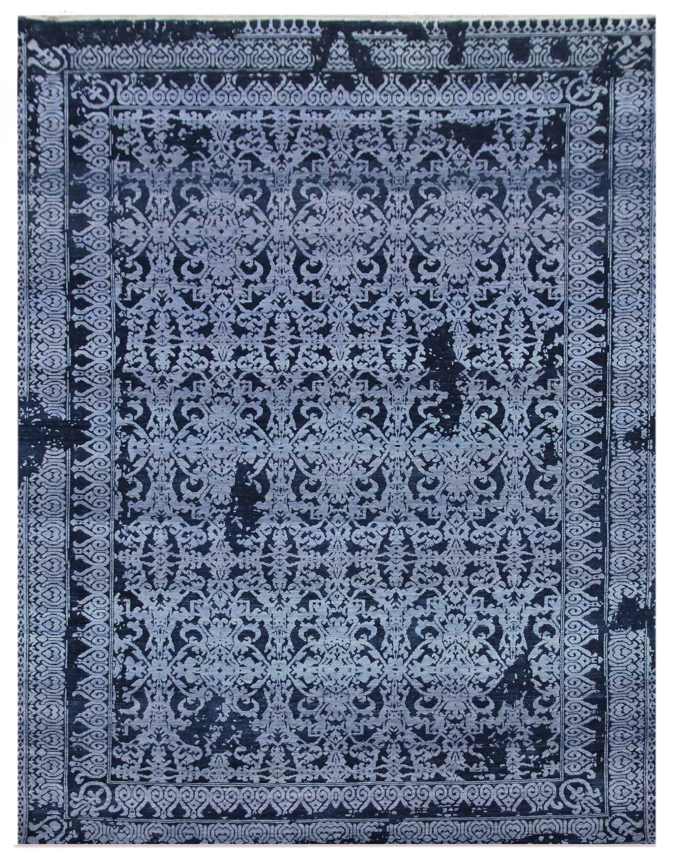 Lexington Hand-Knotted Blue/Ivory Area Rug Rug Size: Rectangle6' x 9'