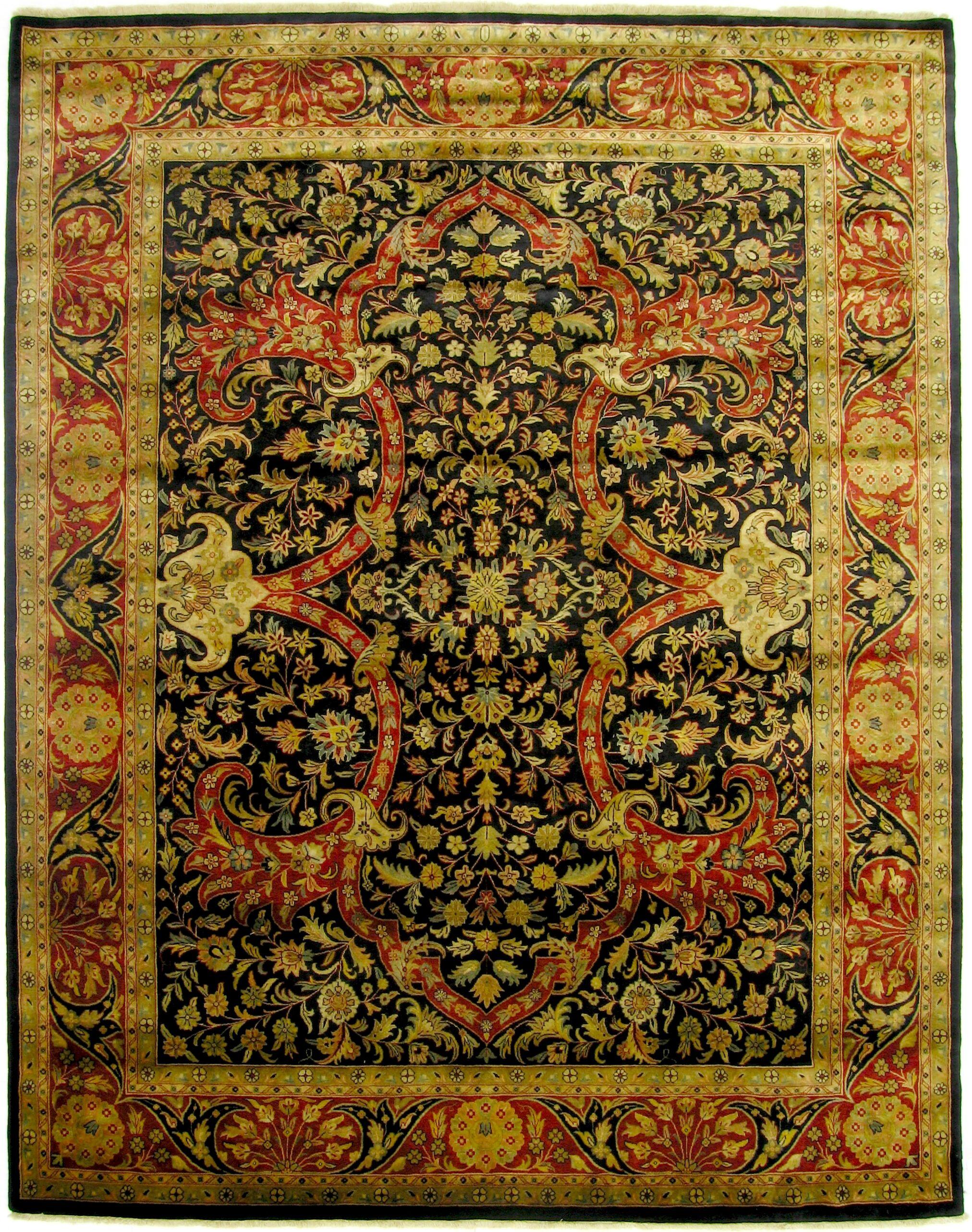 Kashan Hand-Knotted Wool Beige/Black Area Rug