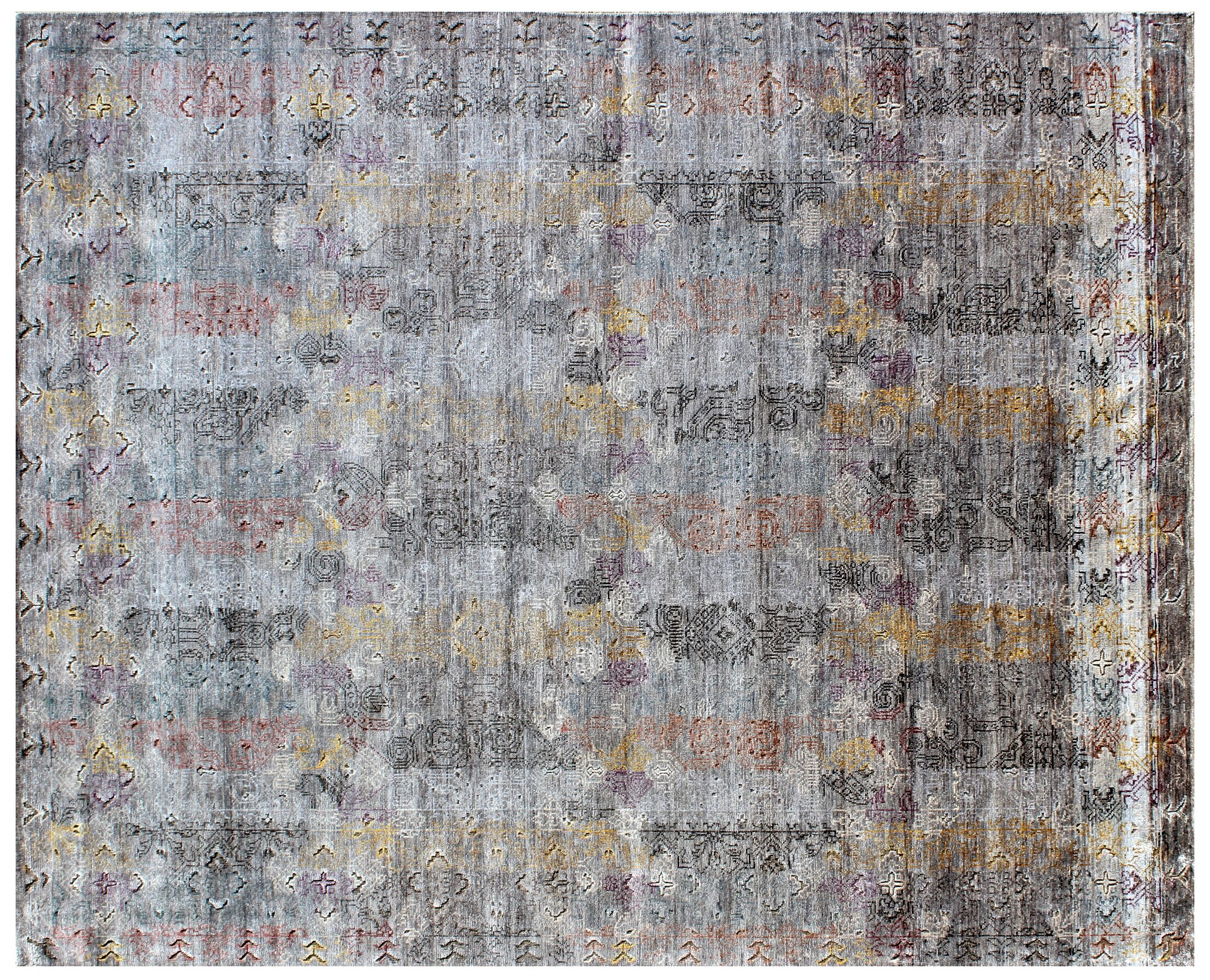 Ashley Hand-Knotted Gray Area Rug Rug Size: Rectangle 8' x 10'