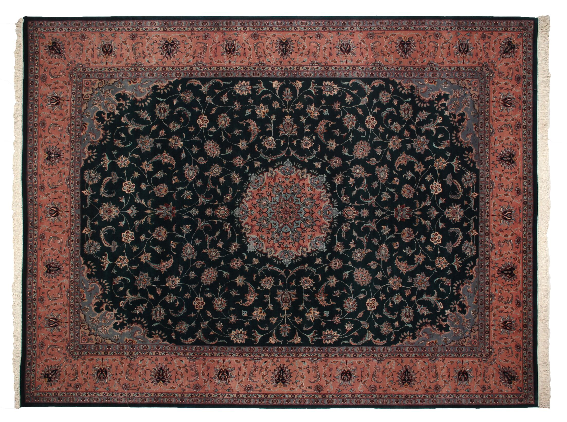 One-of-a-Kind Hand-Woven Wool Blue/Rust Area Rug