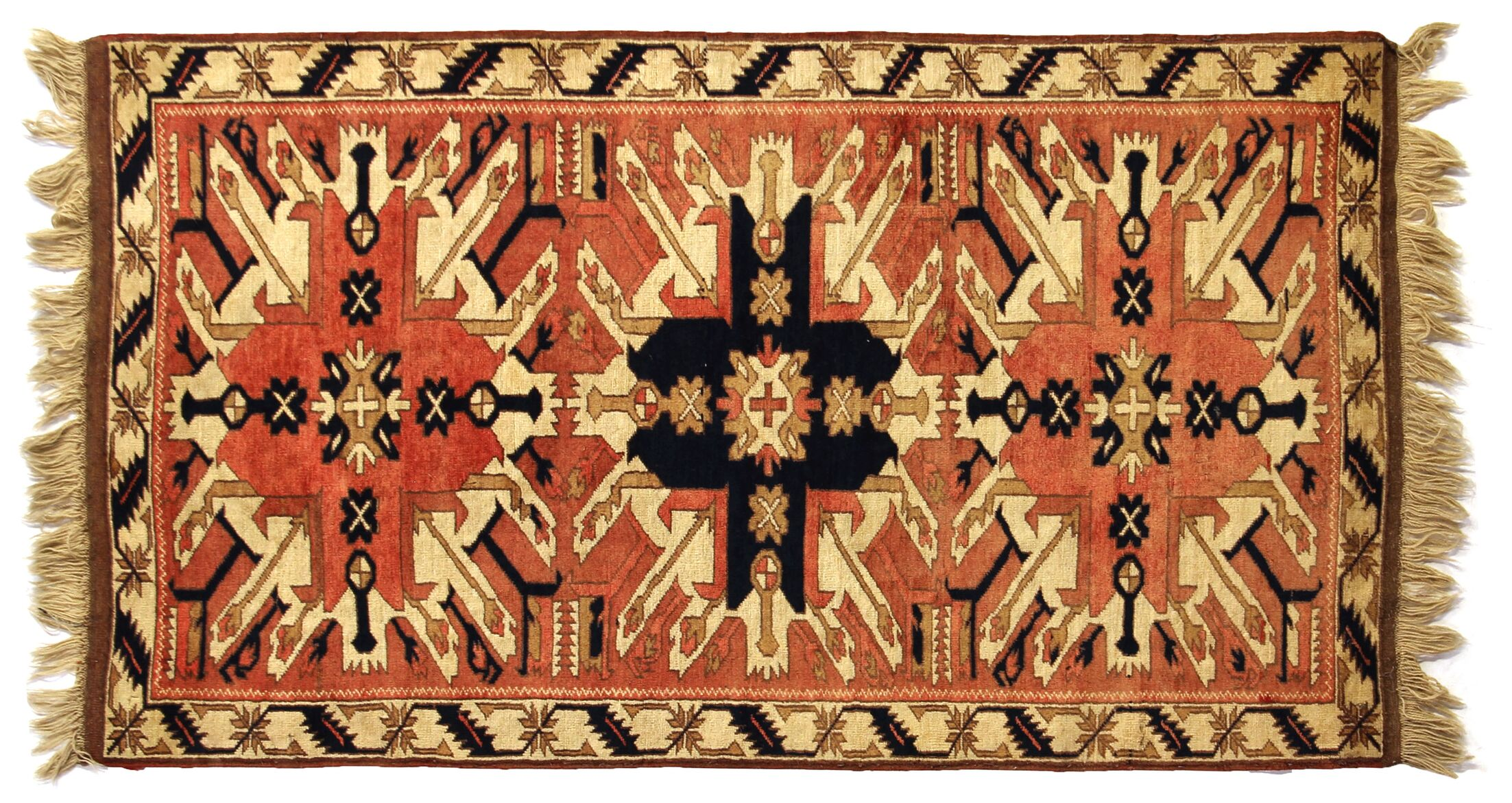 One-of-a-Kind Hand-Woven Wool Orange/Ivory Area Rug