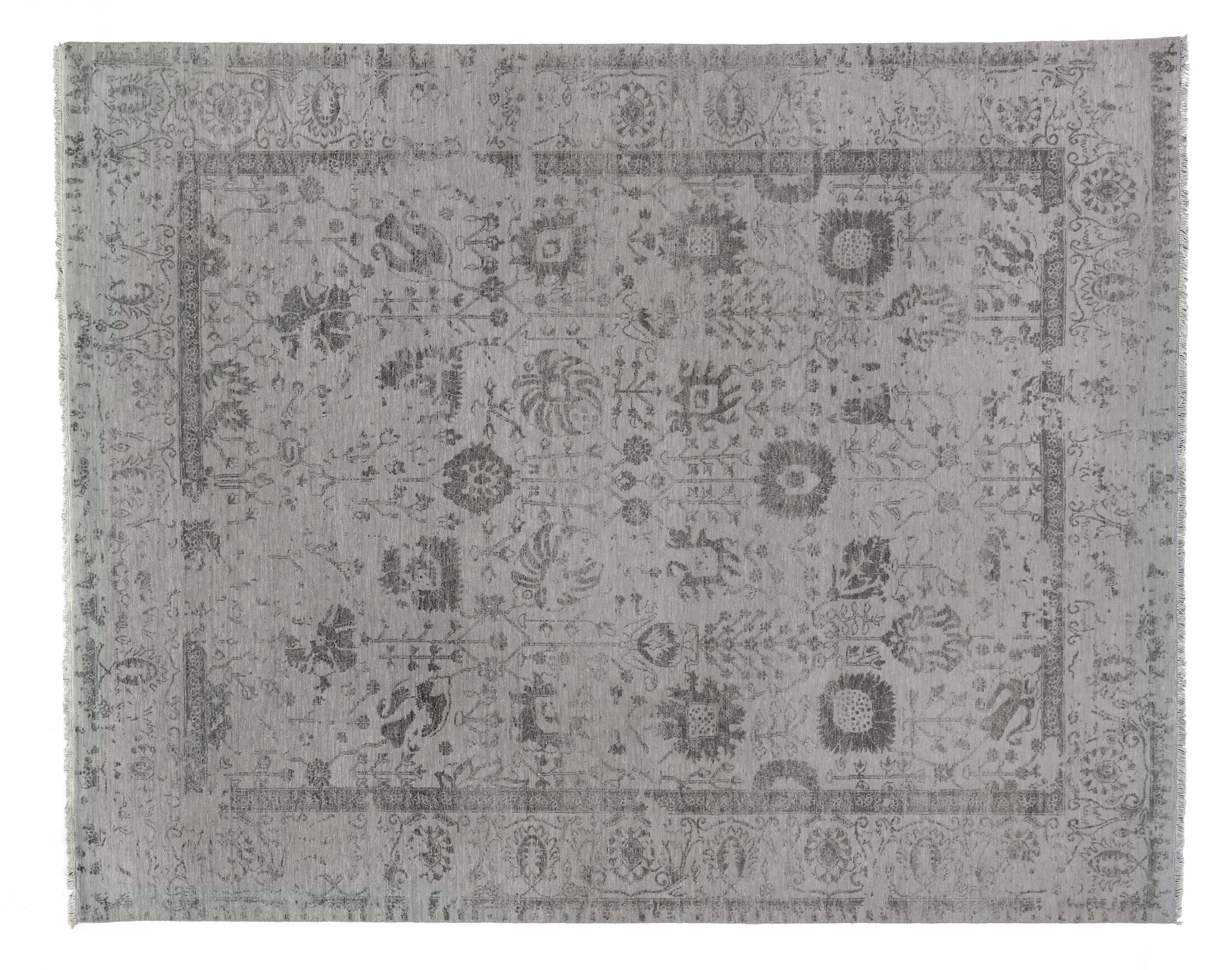 Lexington Hand-Knotted Silver/Aqua Area Rug Rug Size: Rectangle 9' x 12'