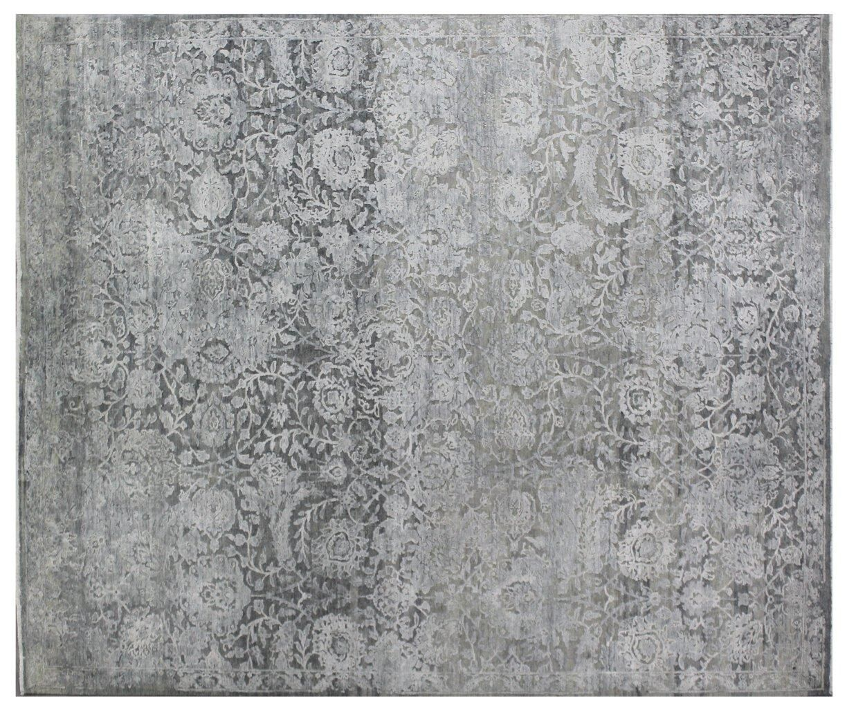 Meena Hand-Knotted Gray Area Rug Rug Size: Rectangle 14' x 18'