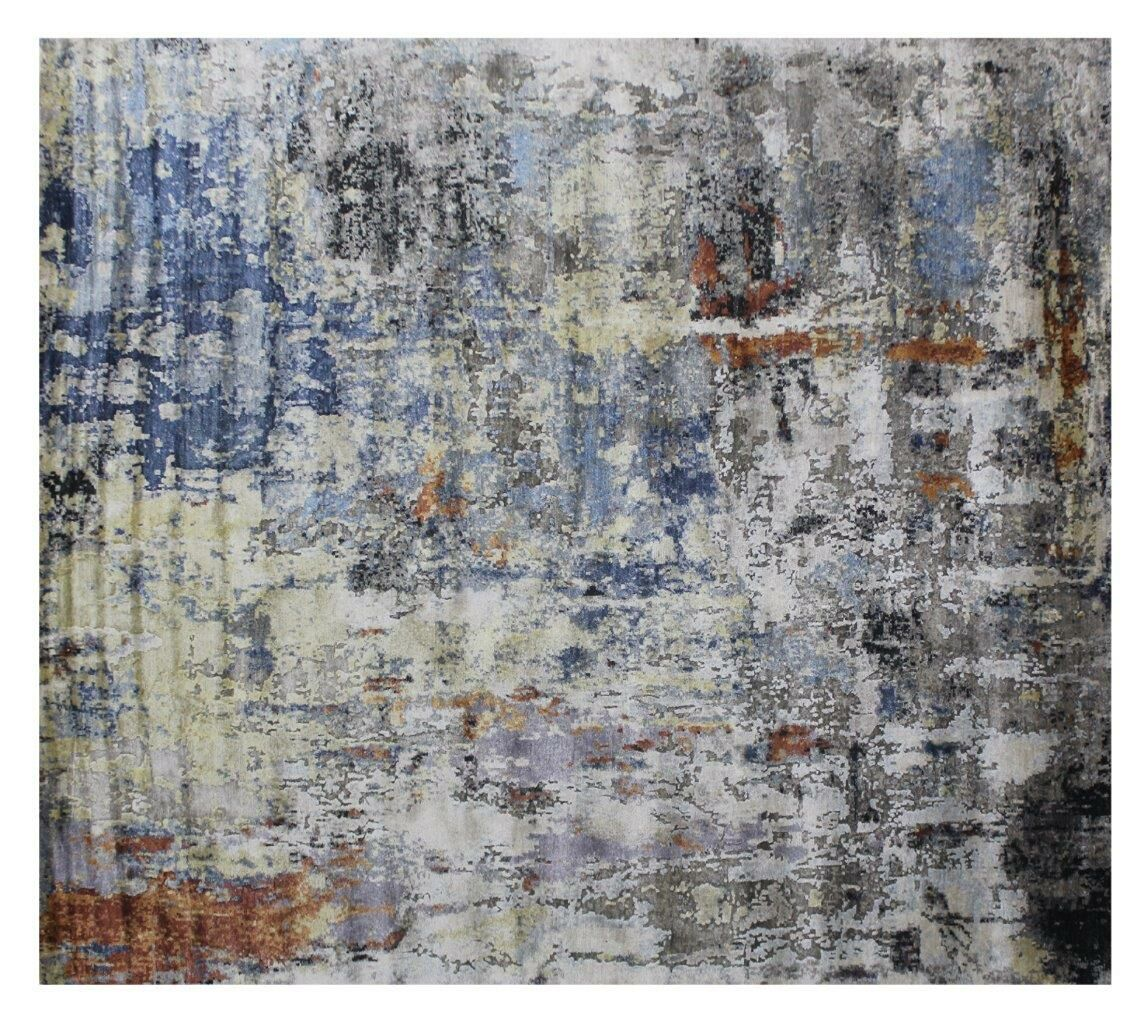 Aurora Hand-Knotted Blue/Gray Area Rug Rug Size: Rectangle 8' x 10'
