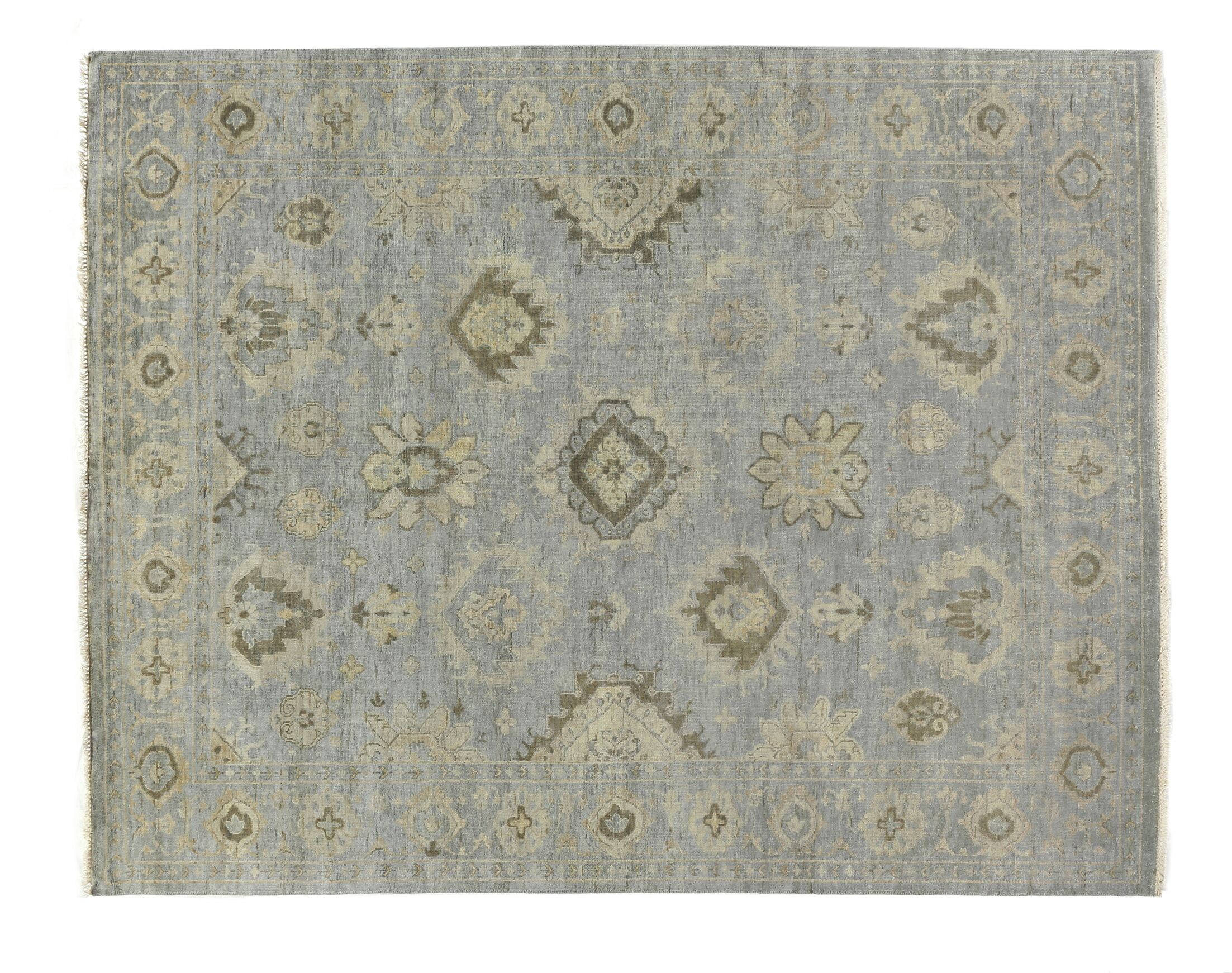 Oushak Hand-Knotted Wool Blue/Gray Area Rug Rug Size: Rectangle 14' x 18'