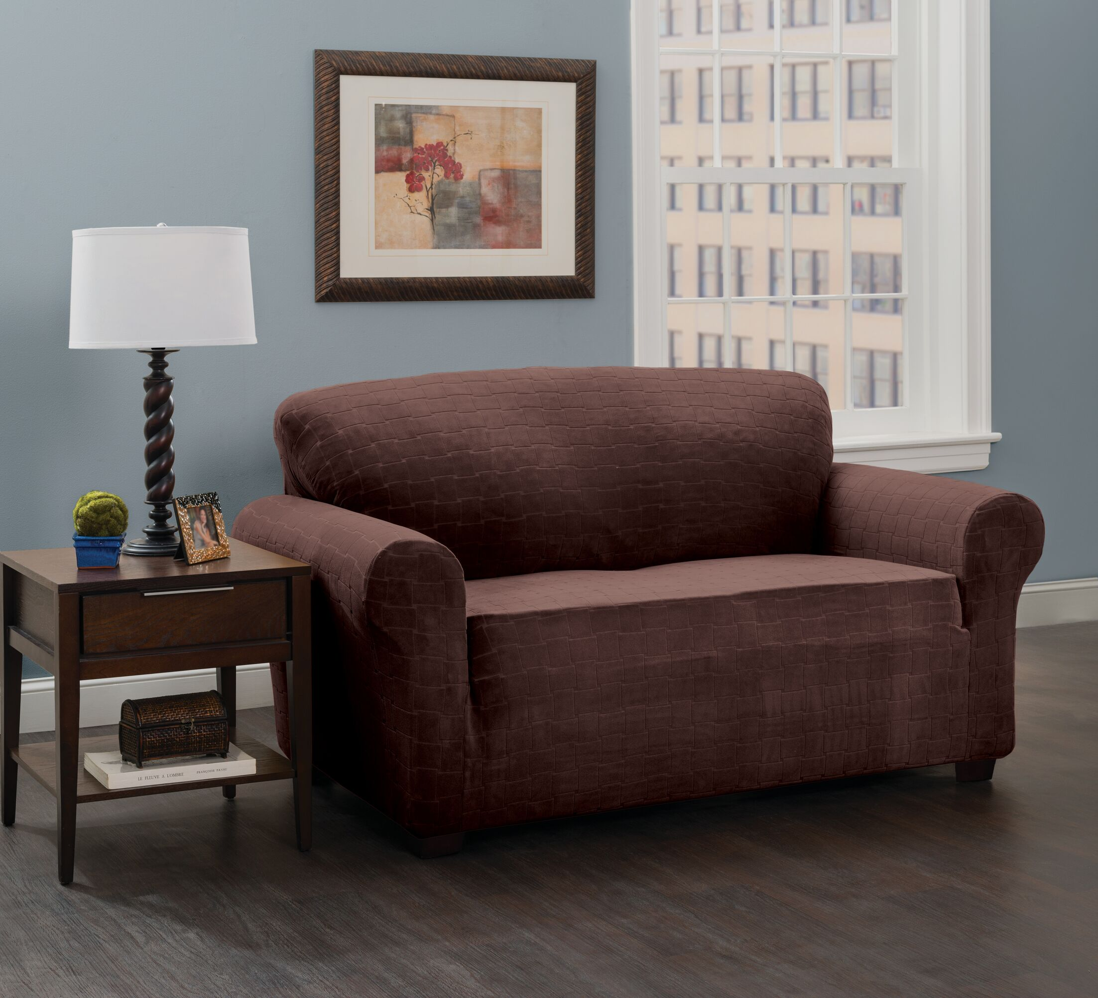 Box Cushion Loveseat Slipcover Upholstery: Chocolate/Cheks