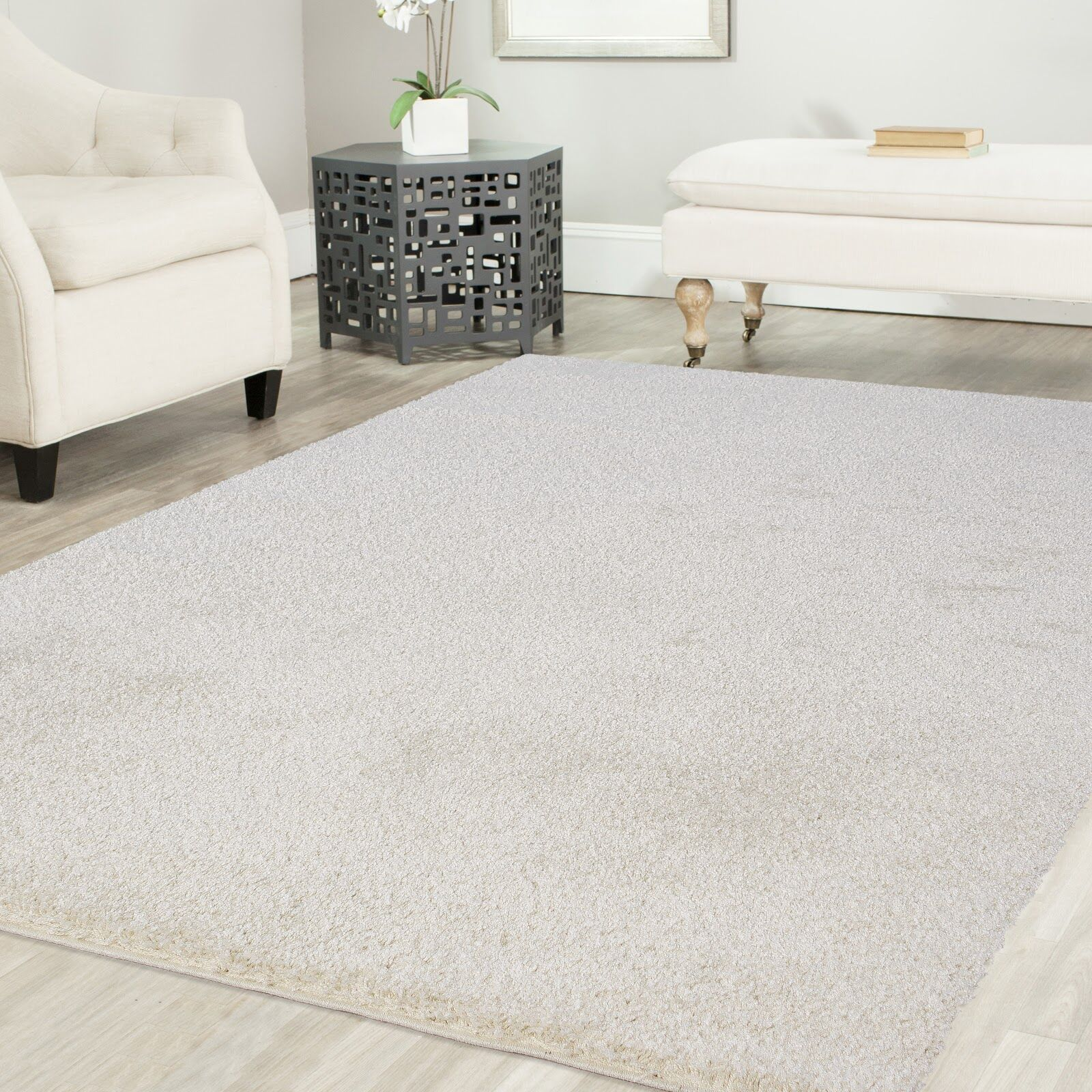Gassin Shag White Area Rug Rug Size: Rectangle 2' x 8'