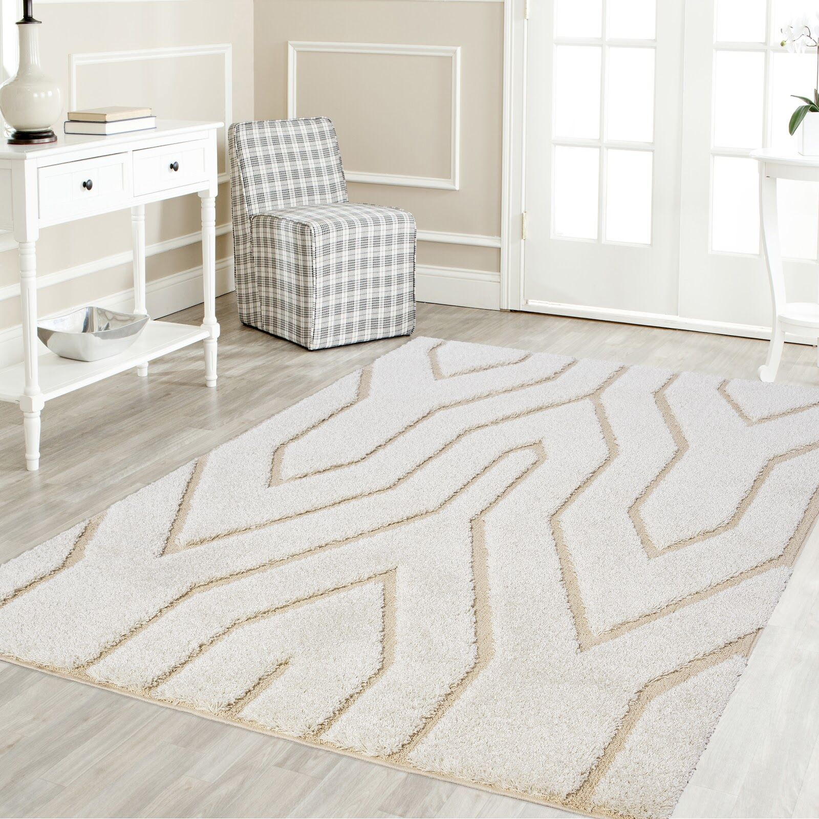 Ruiz Glam Shag White/Beige Area Rug Rug Size: Rectangle 8' x 10'