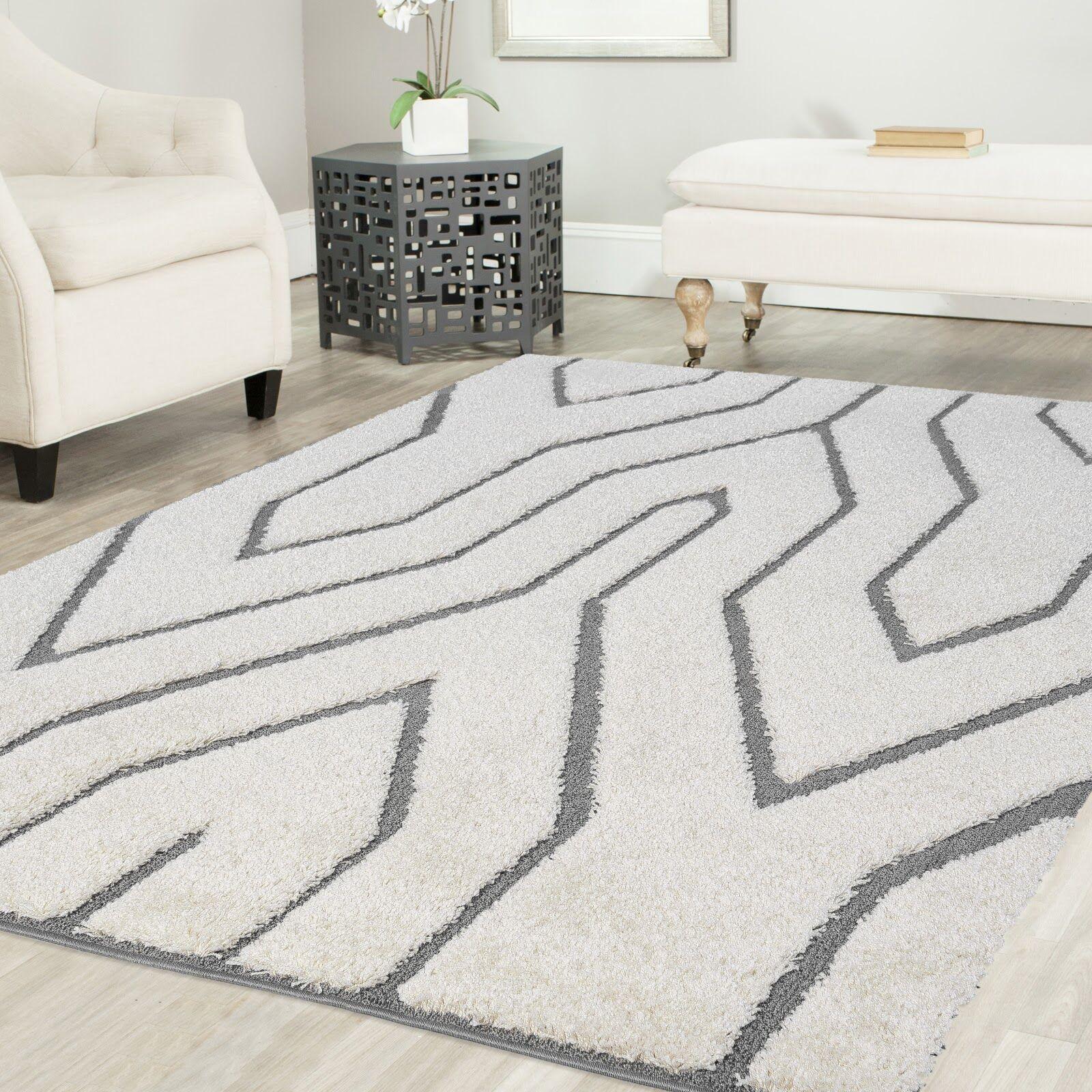 Ruiz Glam Shag White/Gray Area Rug Rug Size: 6' x 6'