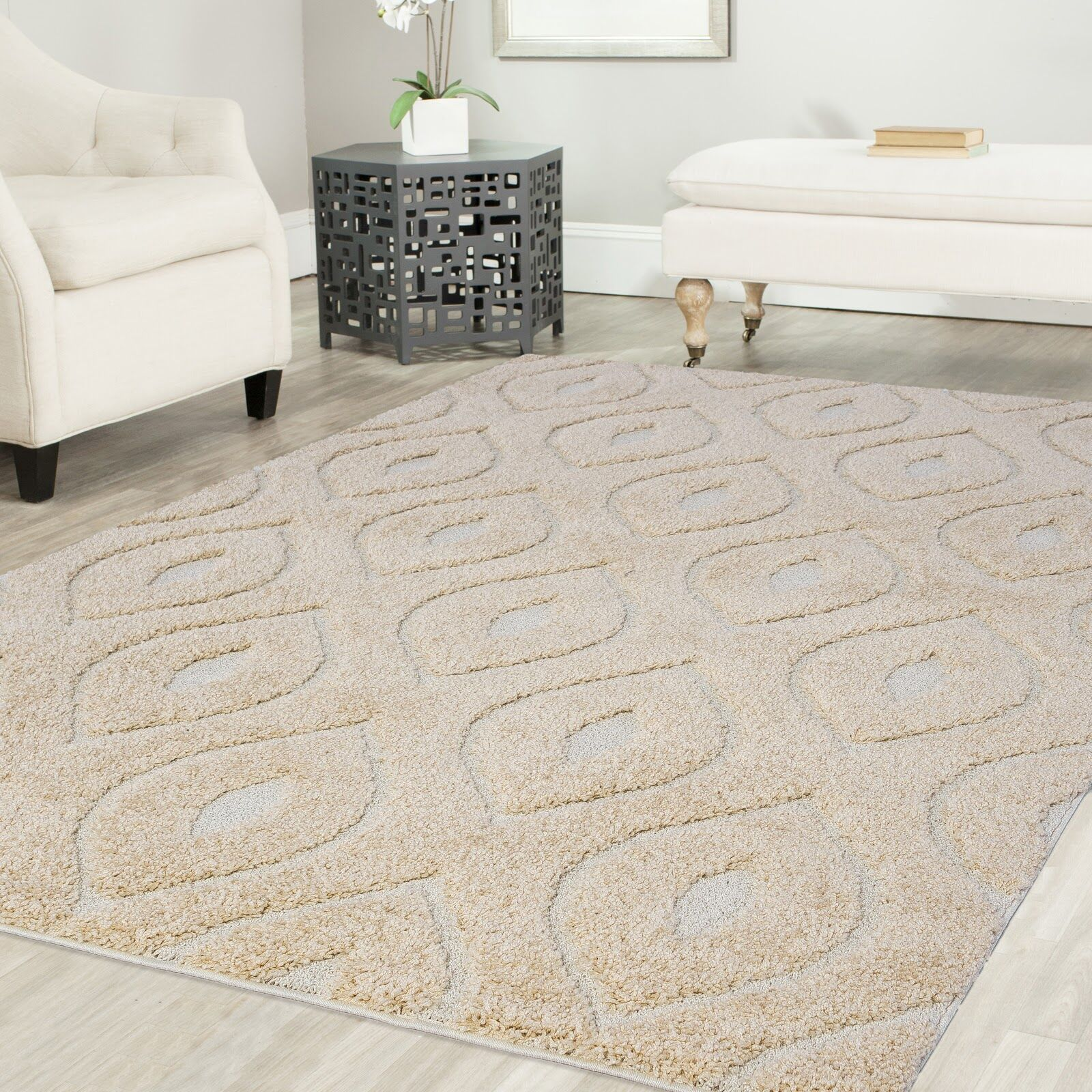 Ruiz Glam Shag Beige/White Area Rug Rug Size: Rectangle 8' x 10'