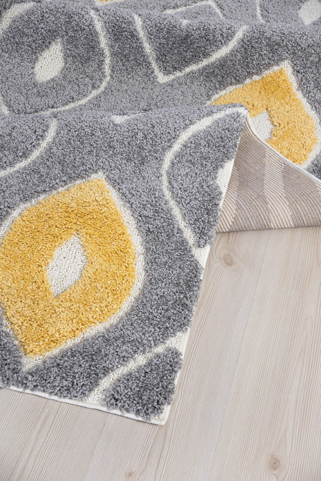 Ruiz Moroccan Shag Gray/Yellow Area Rug Rug Size: 6' x 6'