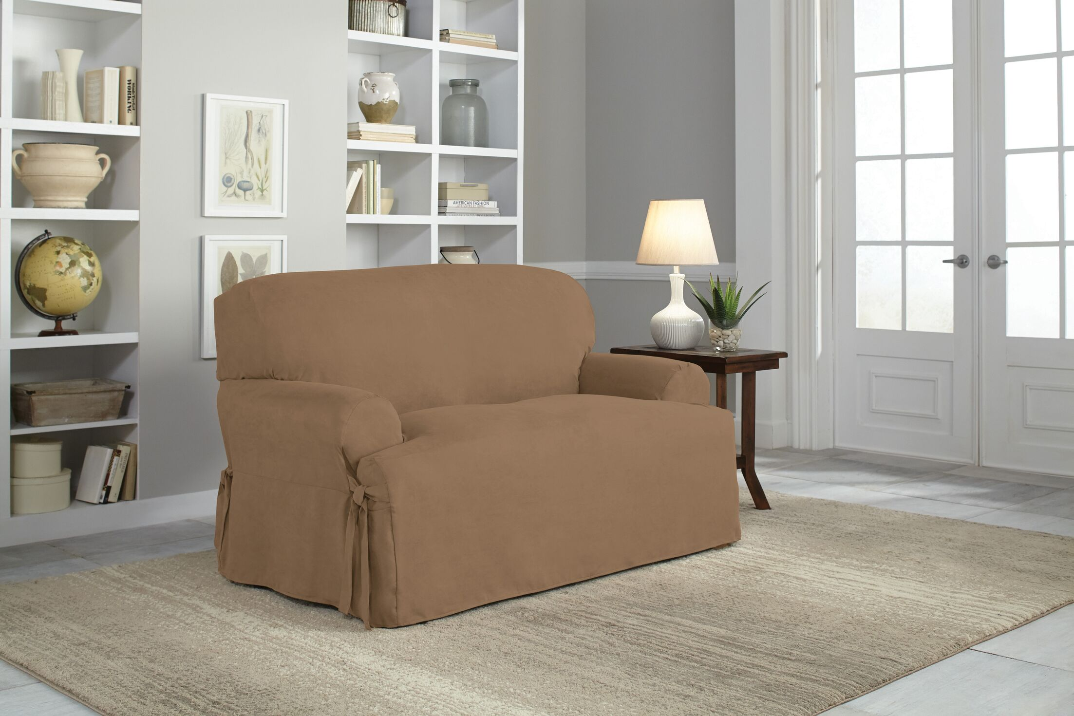 T-Cushion Loveseat Slipcover Upholstery: Taupe