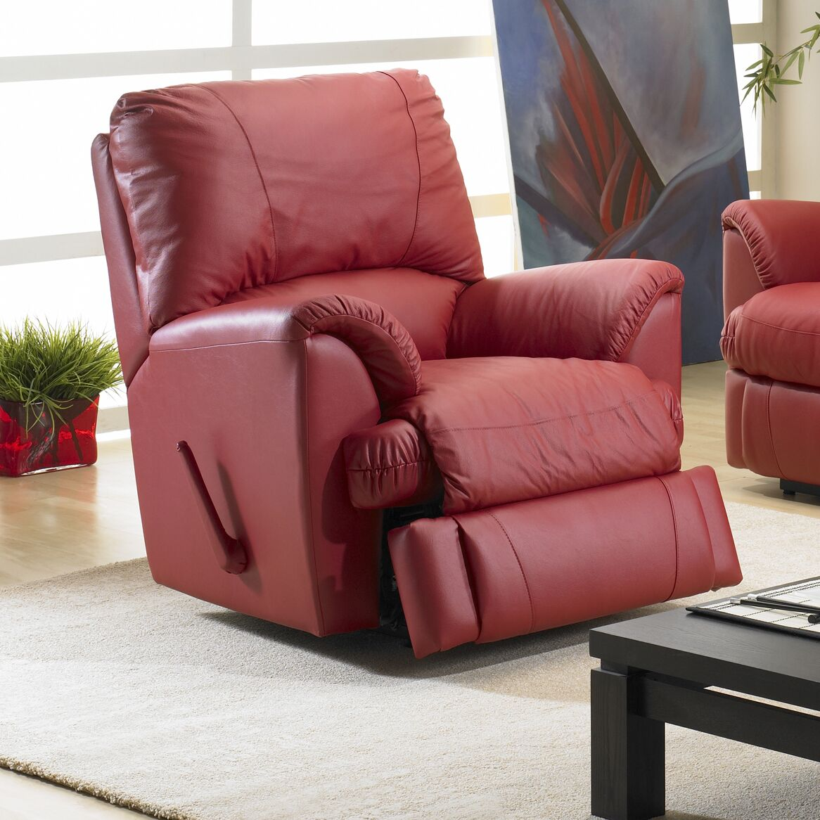 Mylaine Leather Manual Rocker Recliner Reclining Type: Manual, Upholstery: Leather / Vinyl - Burgundy