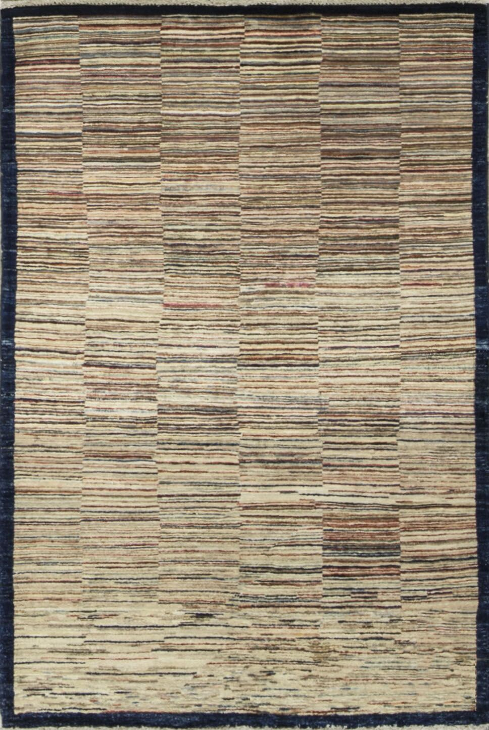 One-of-a-Kind Afghan Gabbeh Hand-Knotted Wool Woodland Area Rug