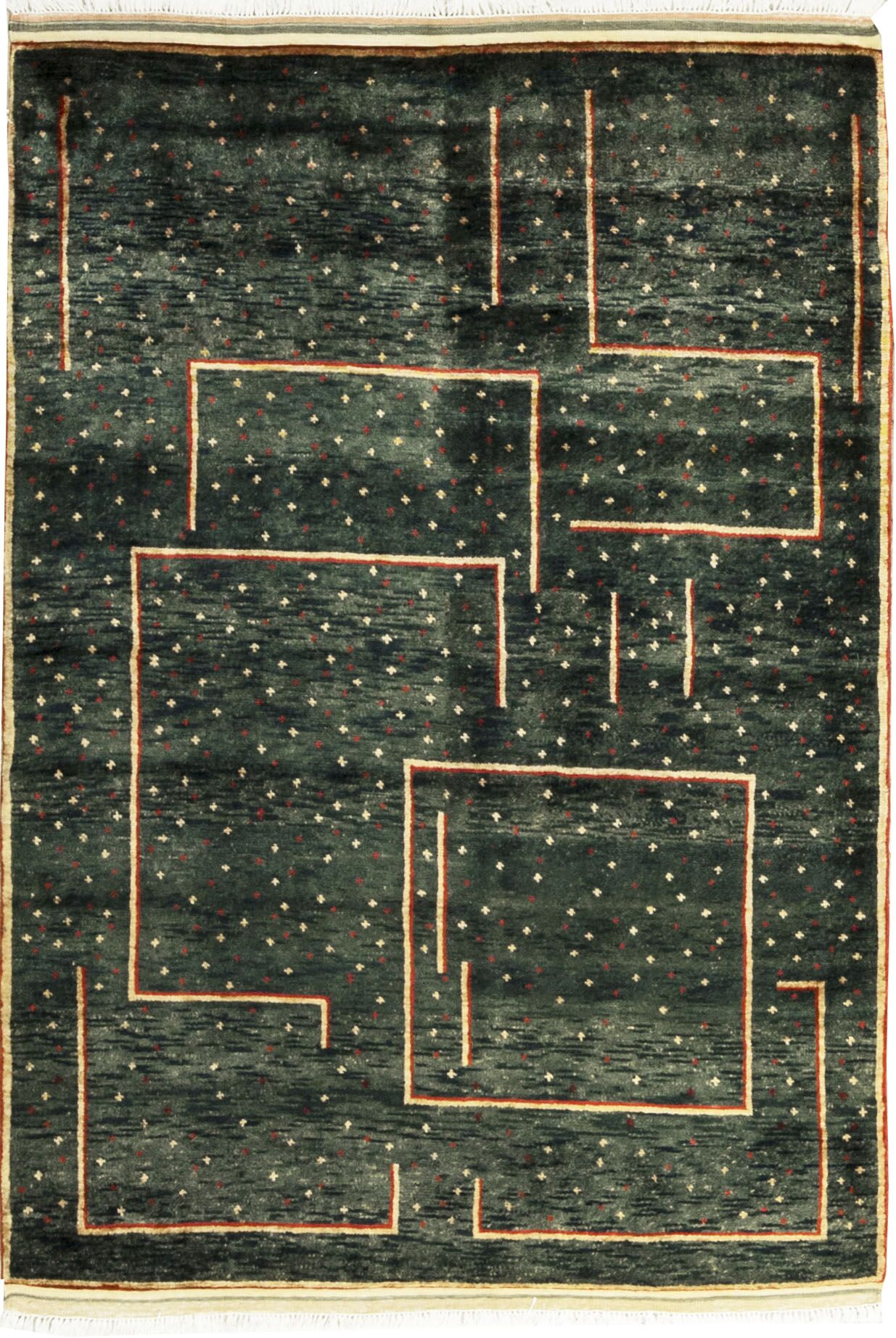 One-of-a-Kind Gabbeh Hand-Knotted Wool Green Area Rug