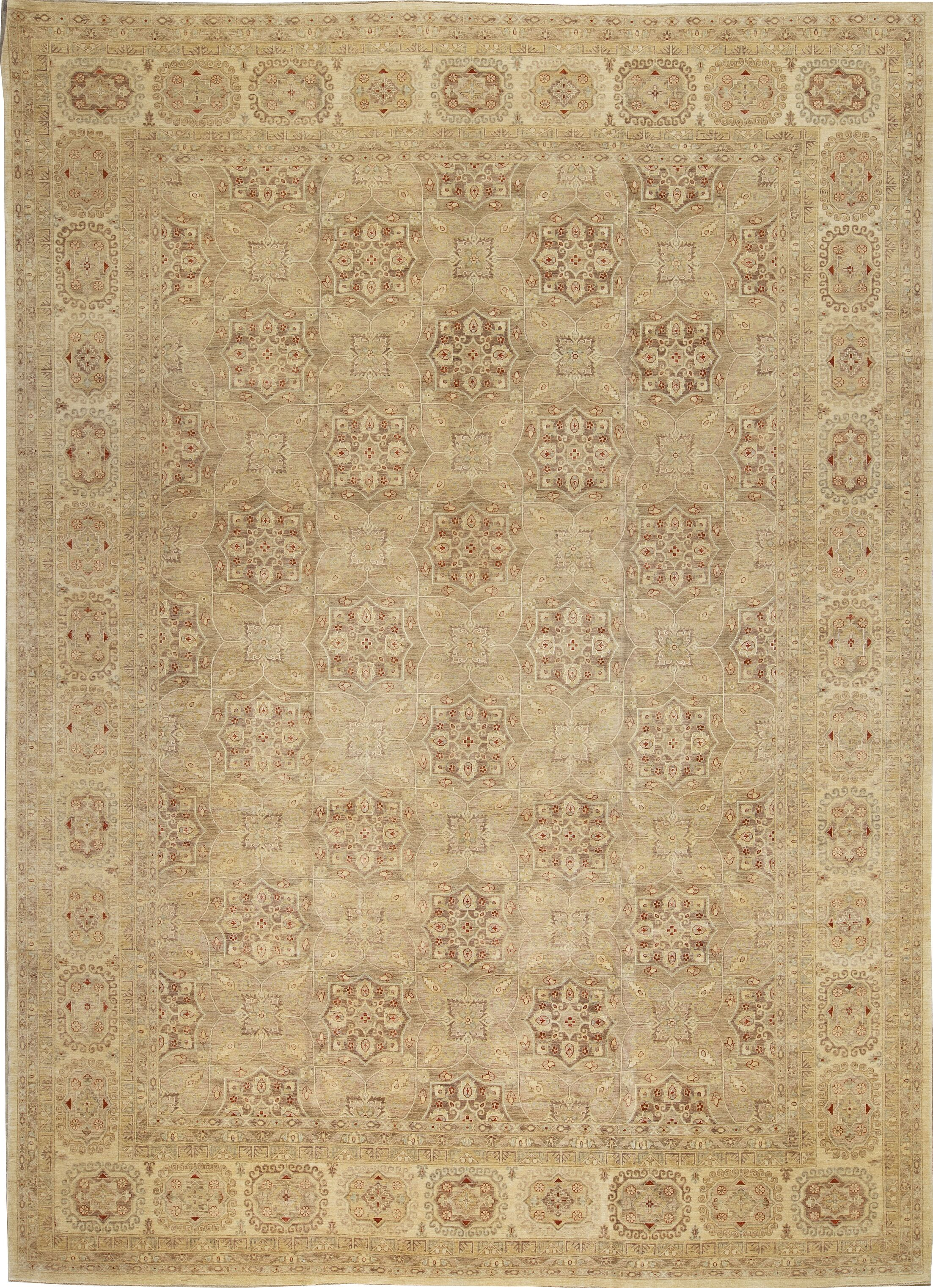 One-of-a-Kind Ziegler 2000 Octogon Spread Hand-Knotted Wool Brown/Beige Area Rug