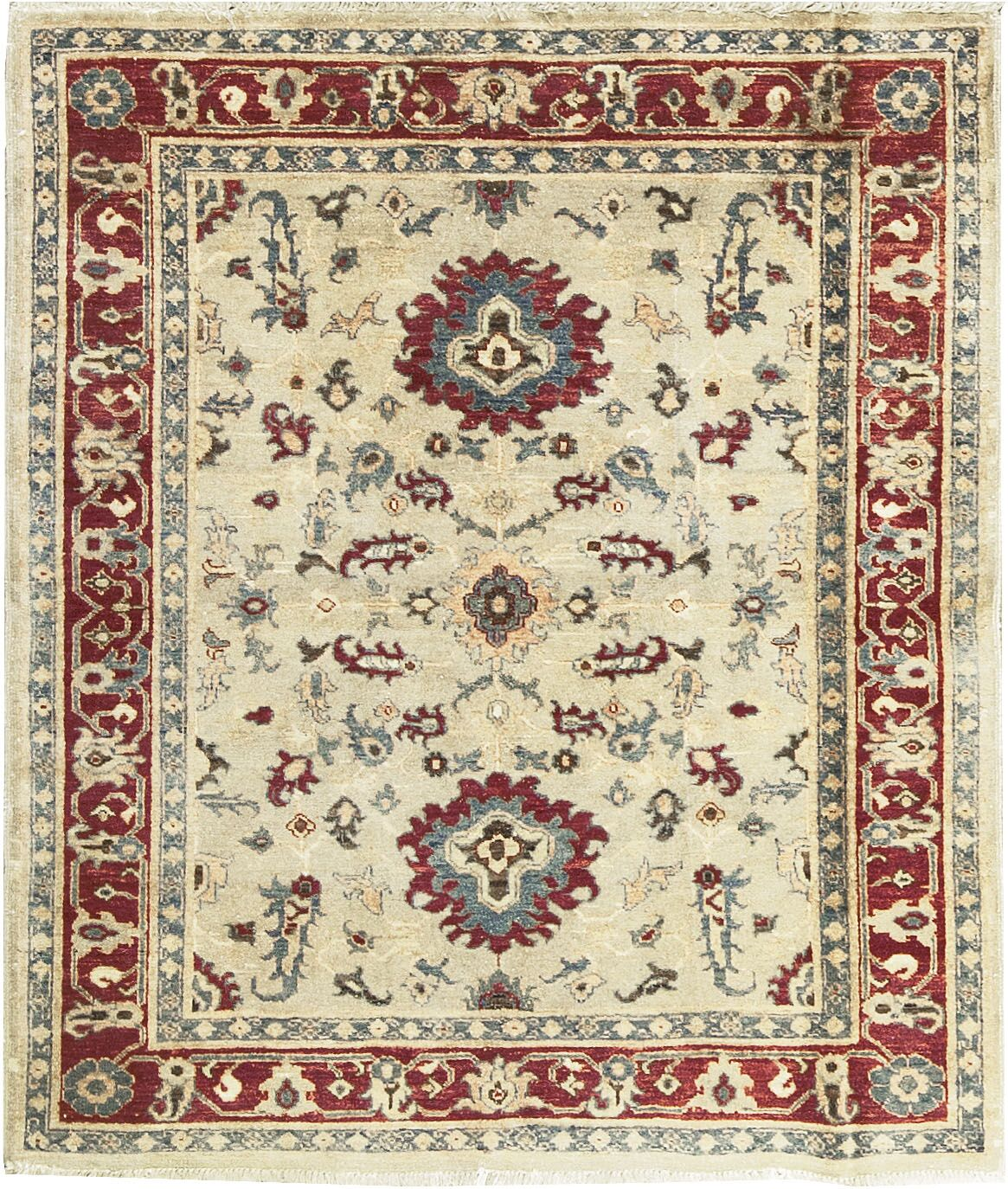 Zarbof Quality Hand-Knotted Wool Ivory/Red Area Rug