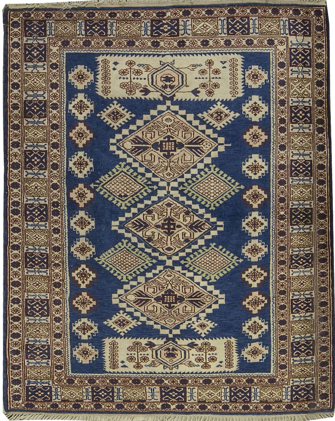 Semi-Antique Turkish Kazak Hand-Knotted Wool Blue Area Rug