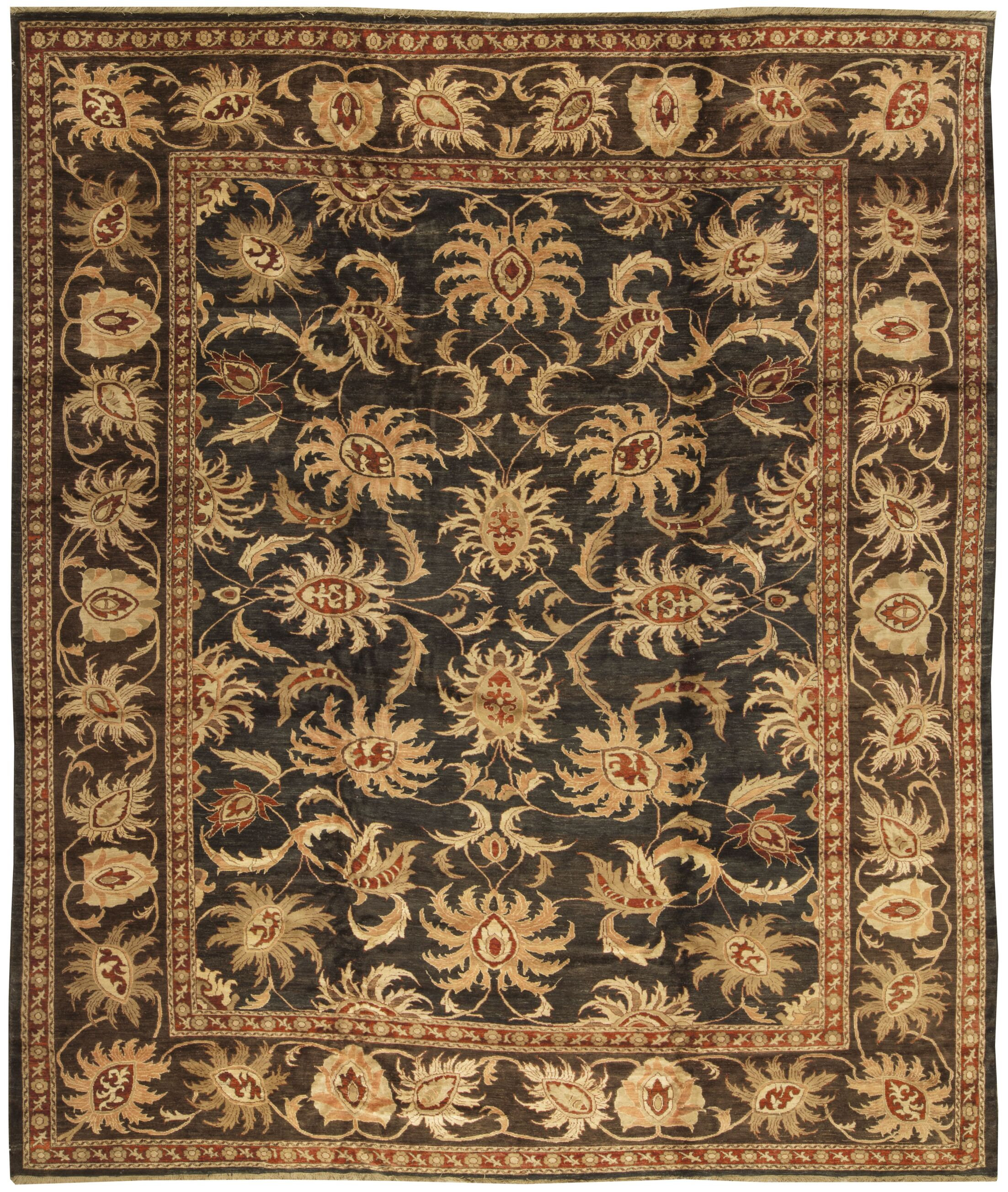 One-of-a-Kind Zarbof Orchid Hand-Knotted Wool Gold/Black Area Rug