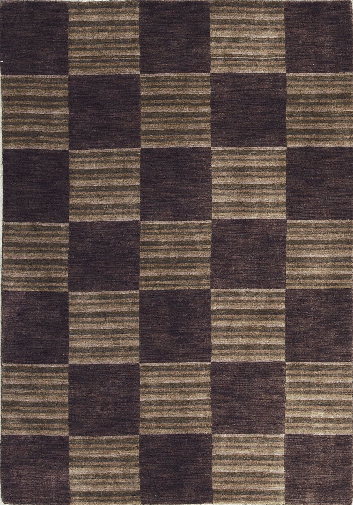 Gabbeh Hand-Knotted Wool Brown Area Rug