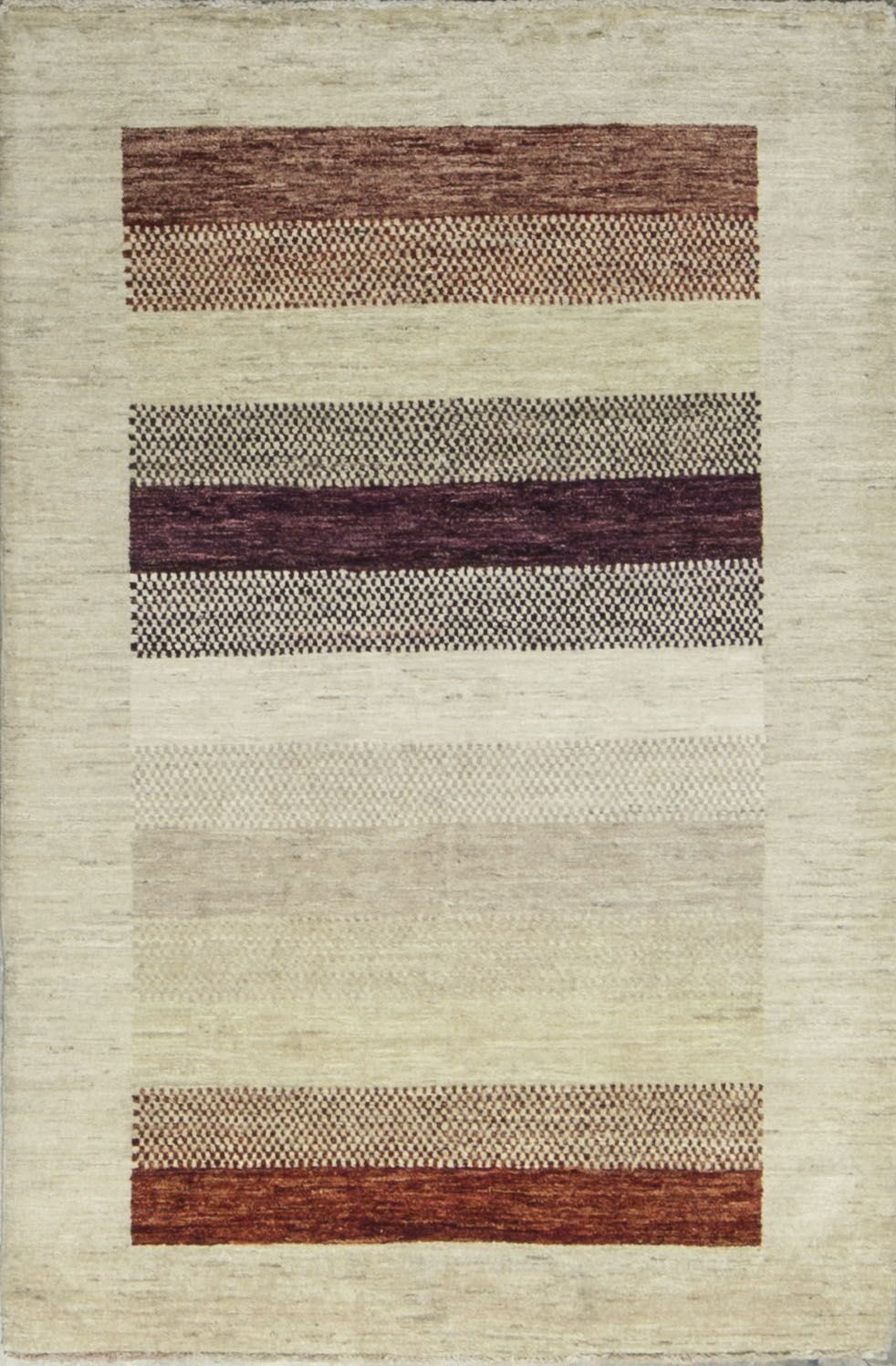 One-of-a-Kind Gabbeh Accent Stripe Hand-Knotted Wool Lavender Area Rug