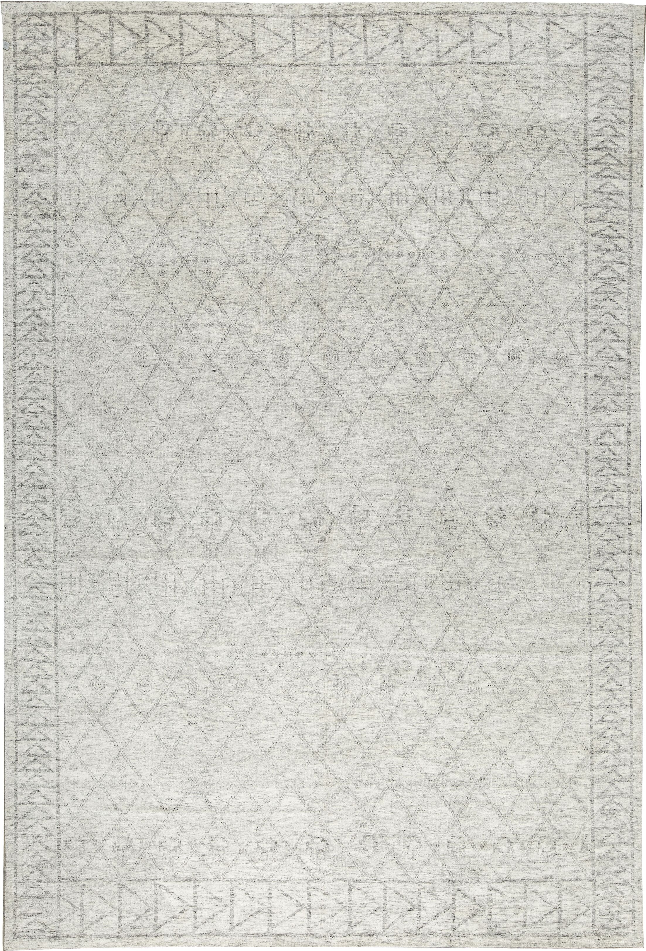 One-of-a-Kind La Ciel Hand-Knotted Ivory/Silver Area Rug
