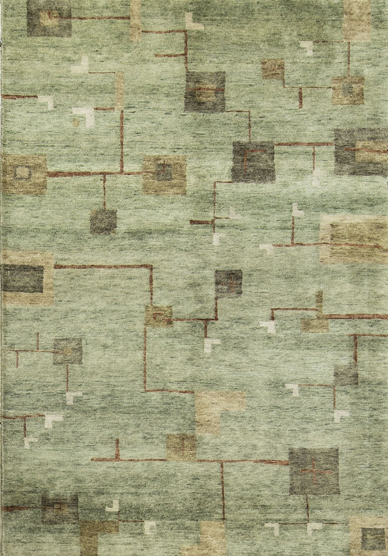 Indian Hand-Knotted Wool Light Gray/Gold Area Rug