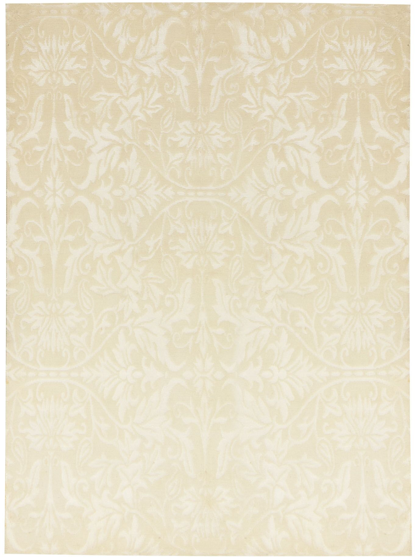 Tibetan Hand-Knotted Wool Beige Area Rug