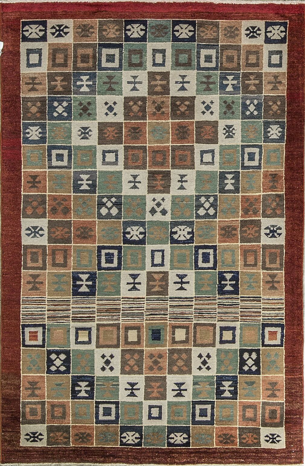 One-of-a-Kind Afghan Diamond Gabbeh Hand-Knotted Wool Light Brown Area Rug