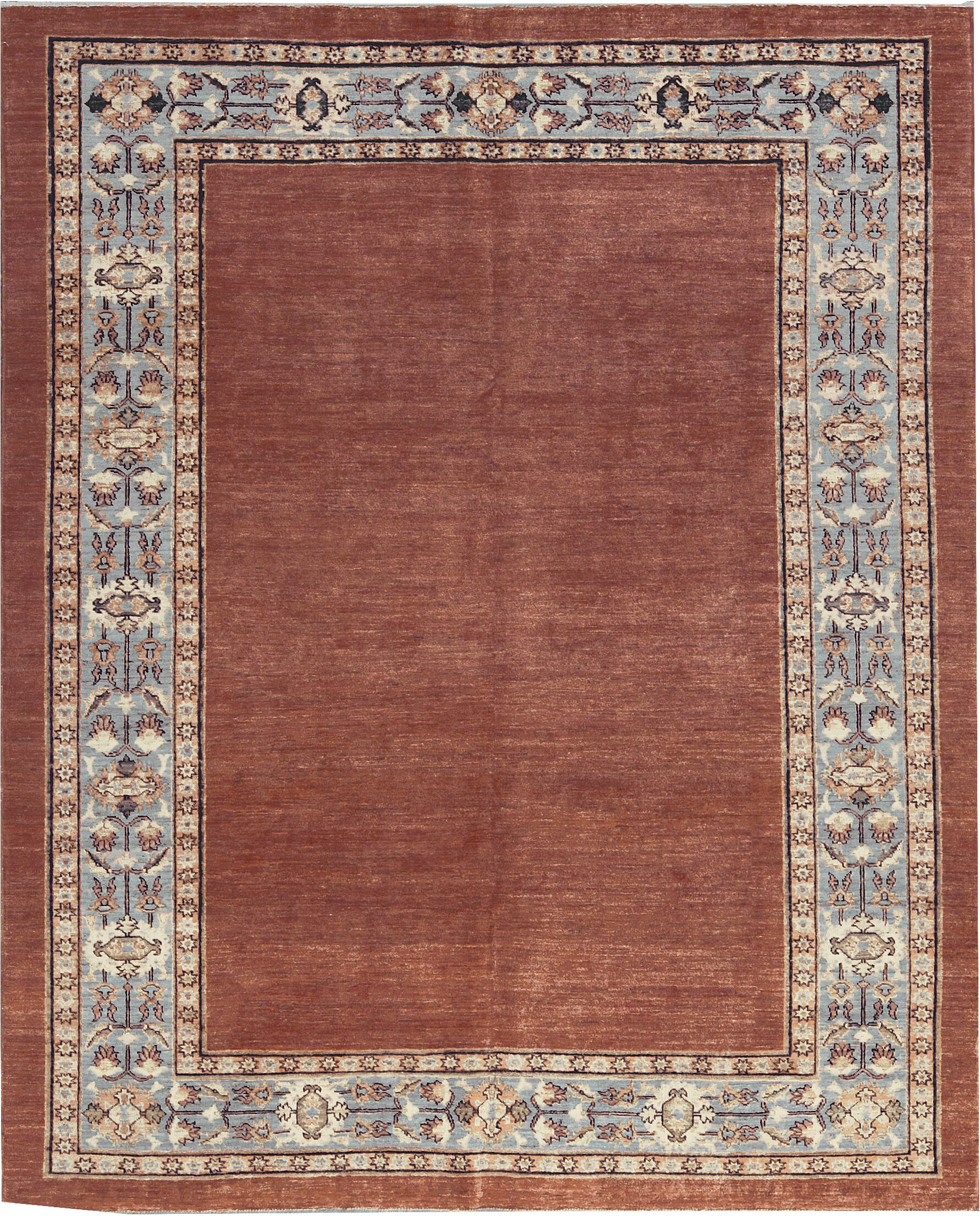 One-of-a-Kind Zarbof Hand-Knotted Wool Rust/Blue Area Rug
