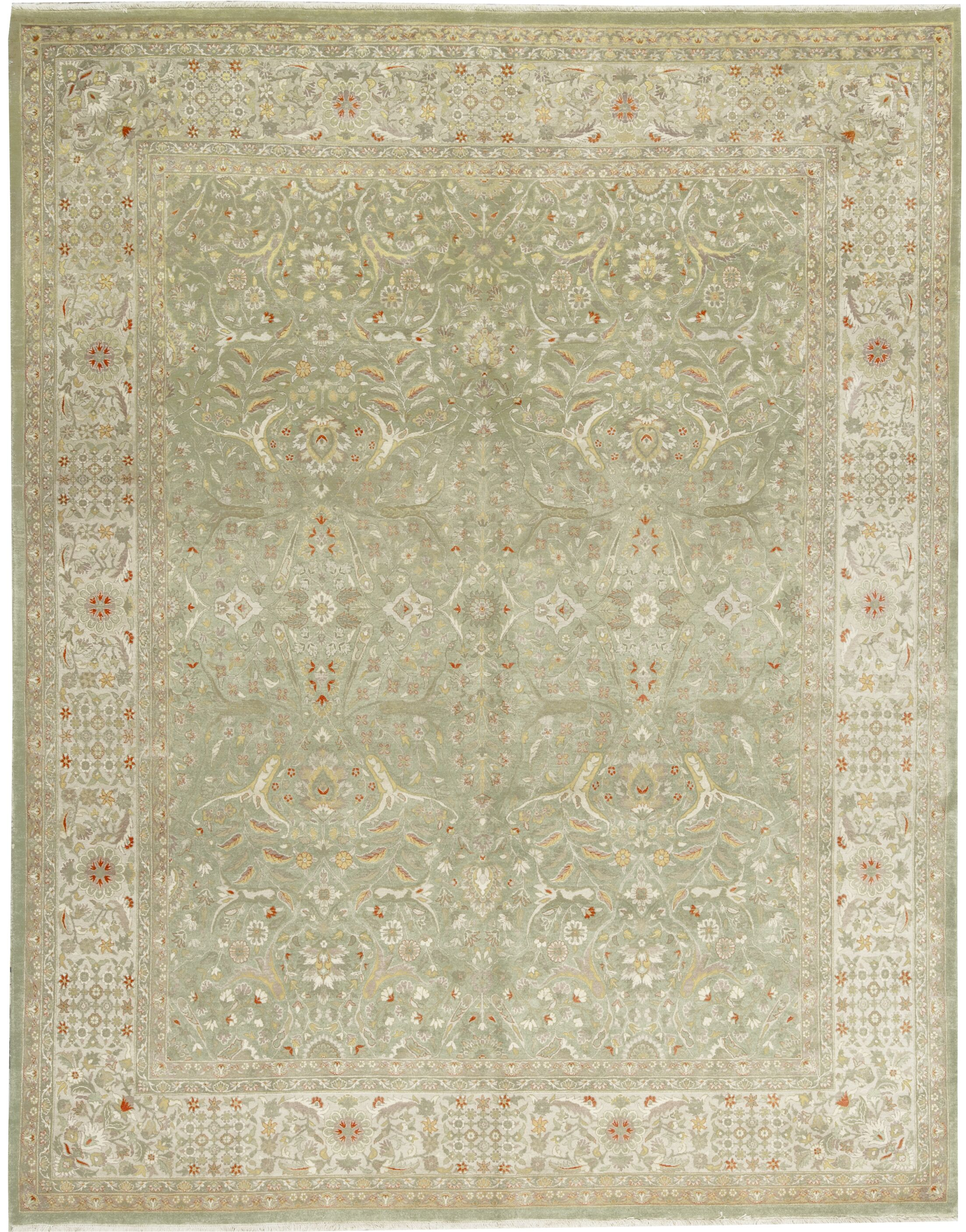 One-of-a-Kind Hand-Knotted Wool Olive Green Area Rug