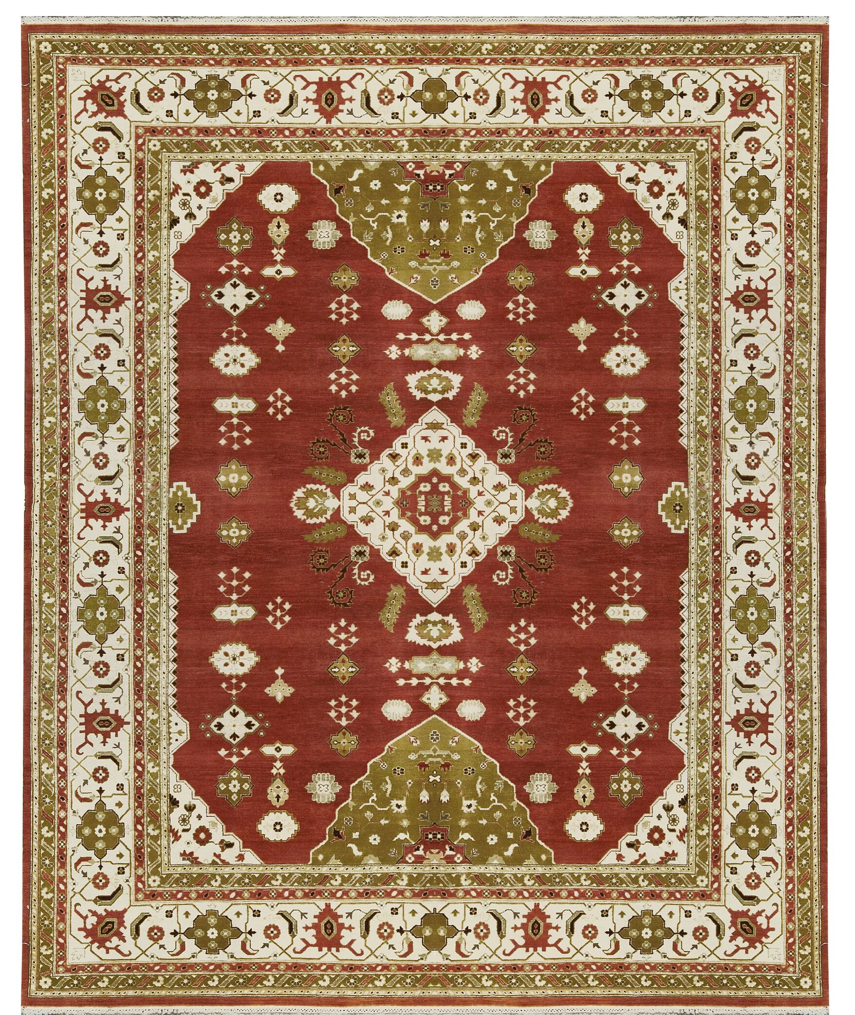 One-of-a-Kind Trinity Hand-Knotted Wool Rust/Ivory Area Rug