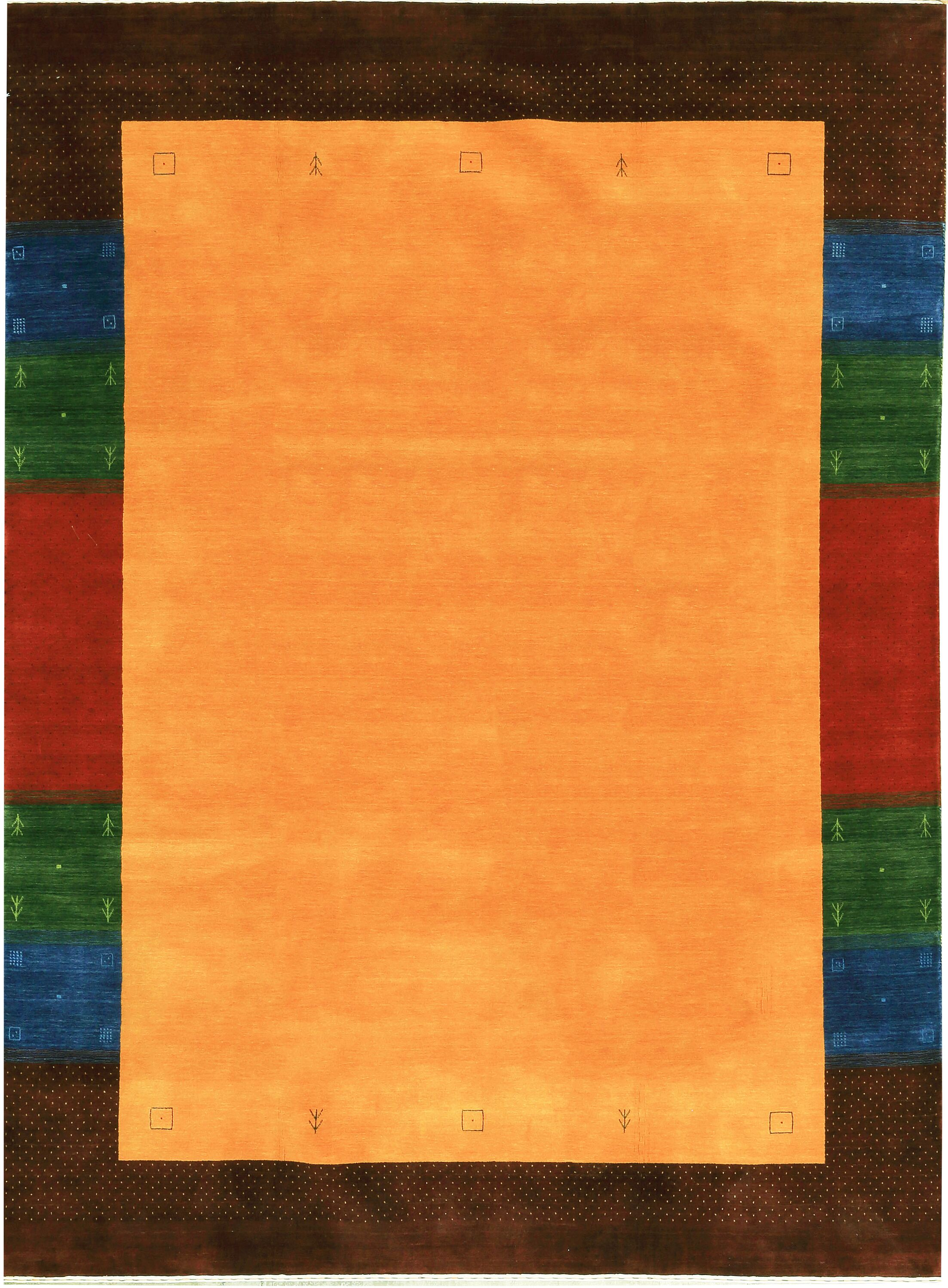 One-of-a-Kind Gabbeh Hand-Knotted Wool Orange Area Rug
