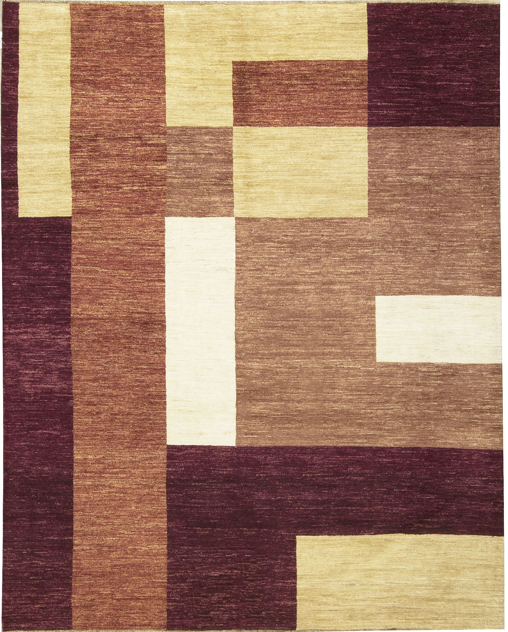 One-of-a-Kind Gabbeh Hand-Knotted Wool Purple Wine Area Rug
