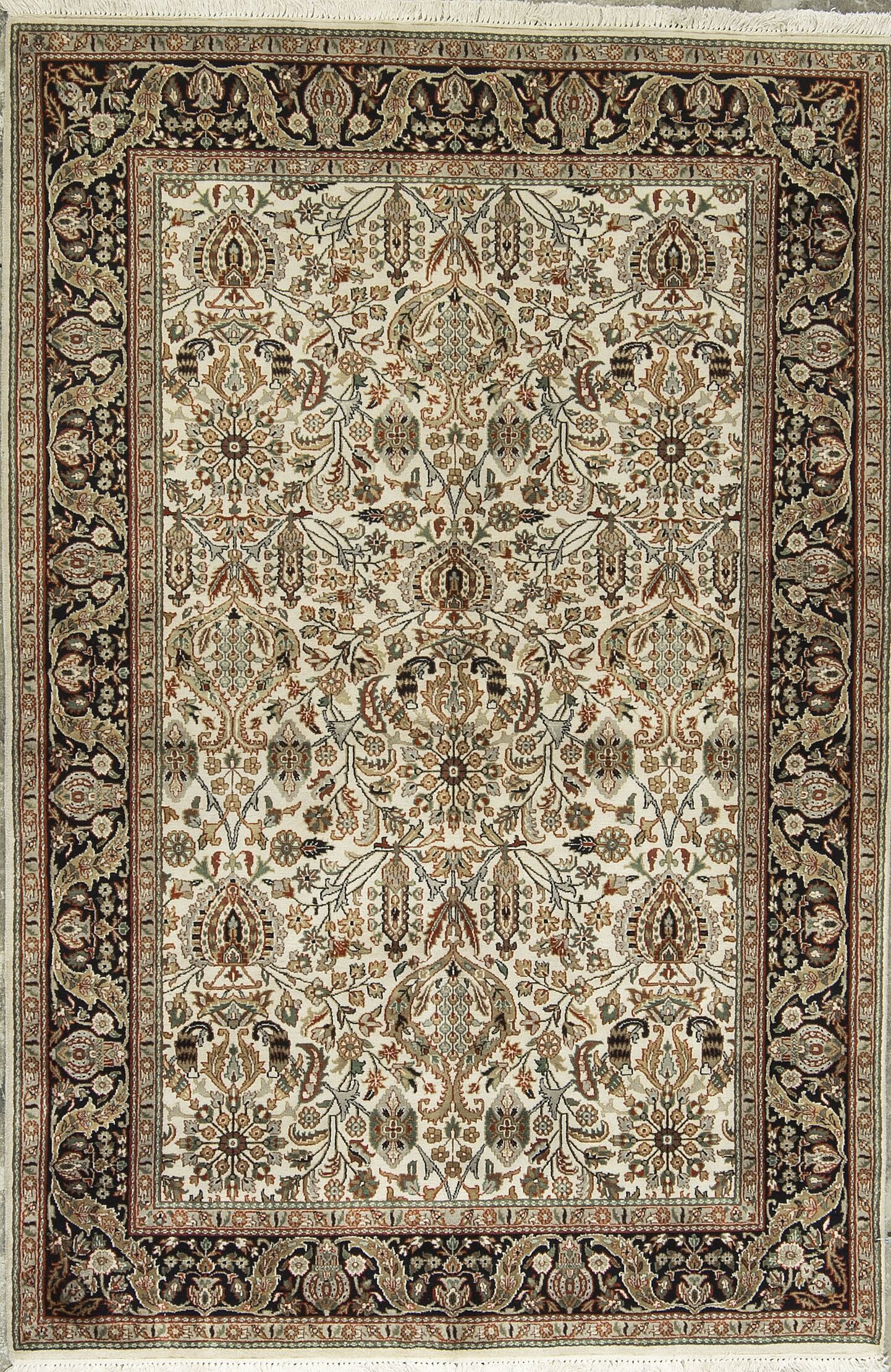 One-of-a-Kind Hand-Knotted Wool Beige/Black Area Rug
