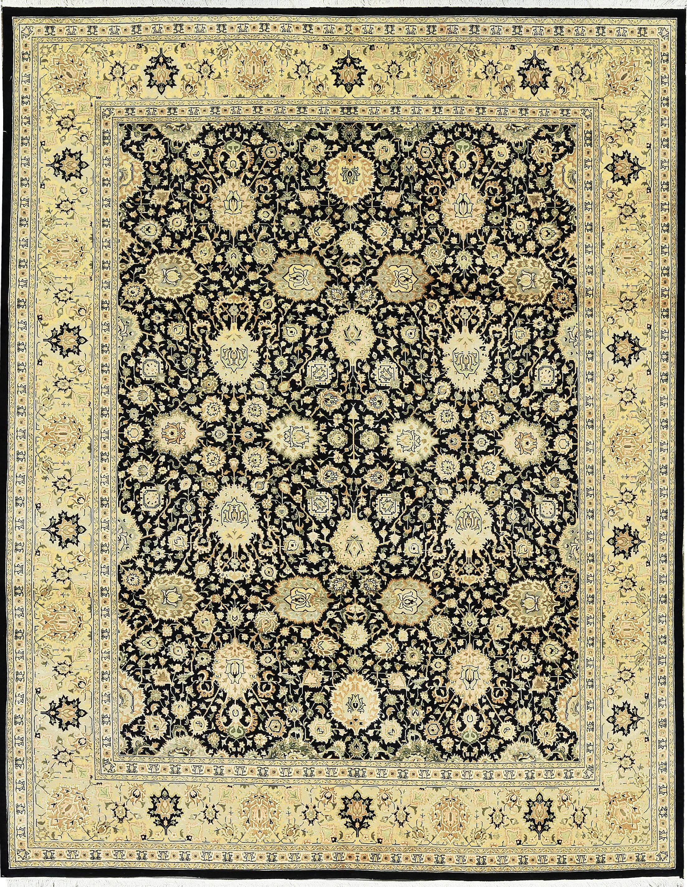 One-of-a-Kind Hand-Knotted Worsted Wool Black/Gold Area Rug
