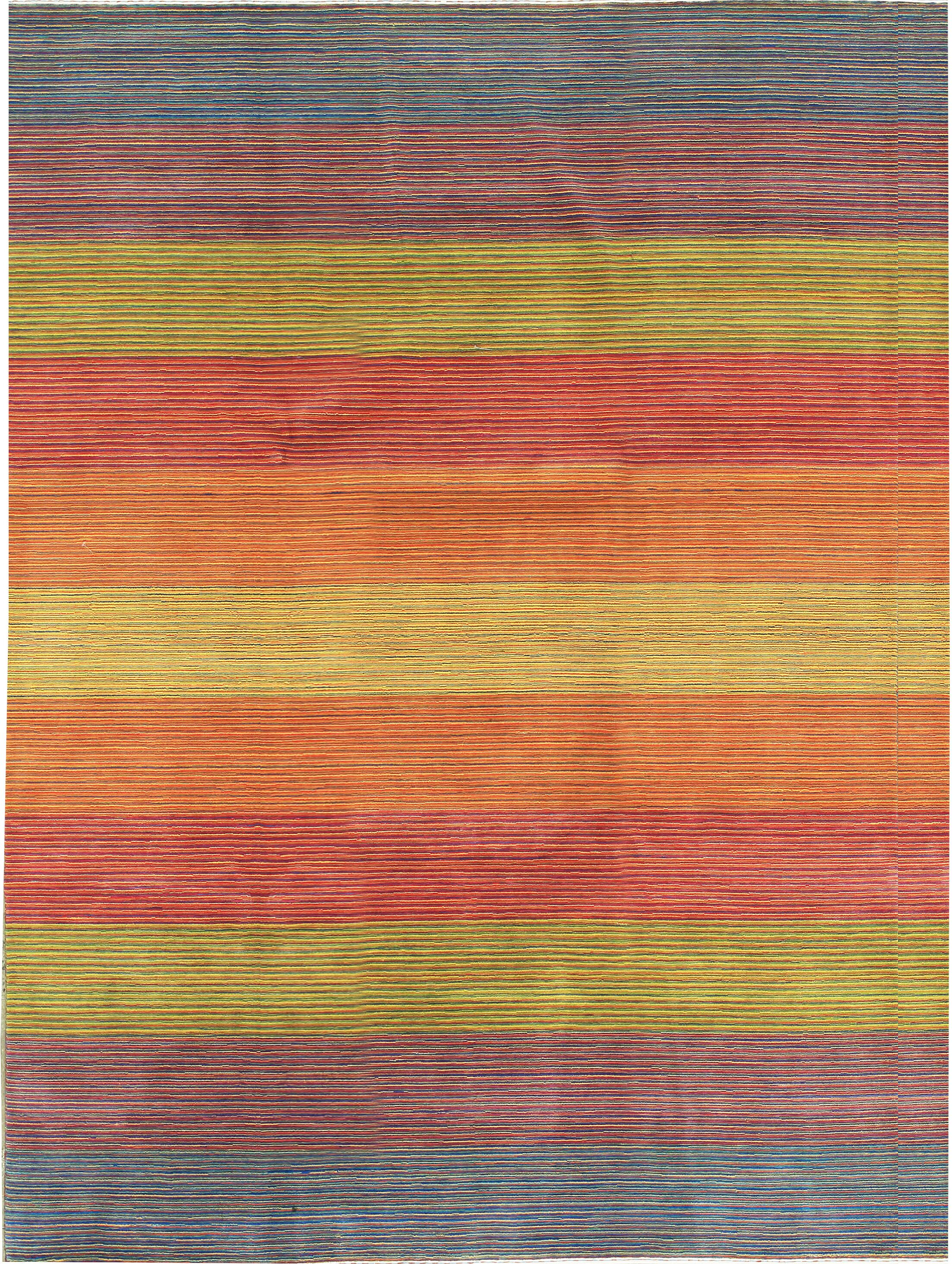 One-of-a-Kind Gabbeh Hand-Knotted Wool Orange/Yellow Area Rug